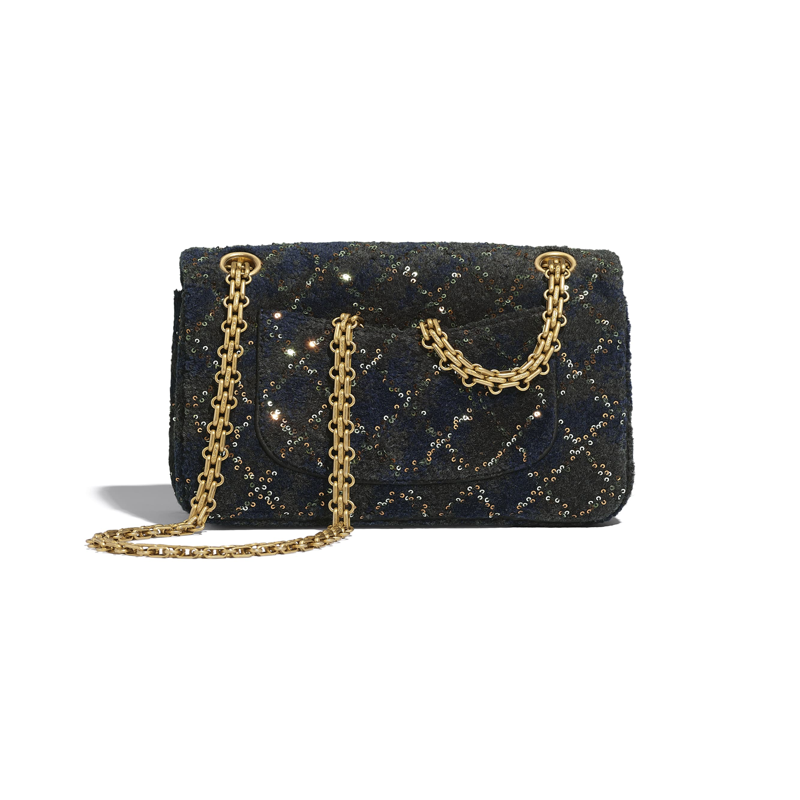 Small 2.55 Handbag - Navy Blue - Wool, Mixed Fibers, Sequins & Gold-Tone Metal - CHANEL - Alternative view - see standard sized version