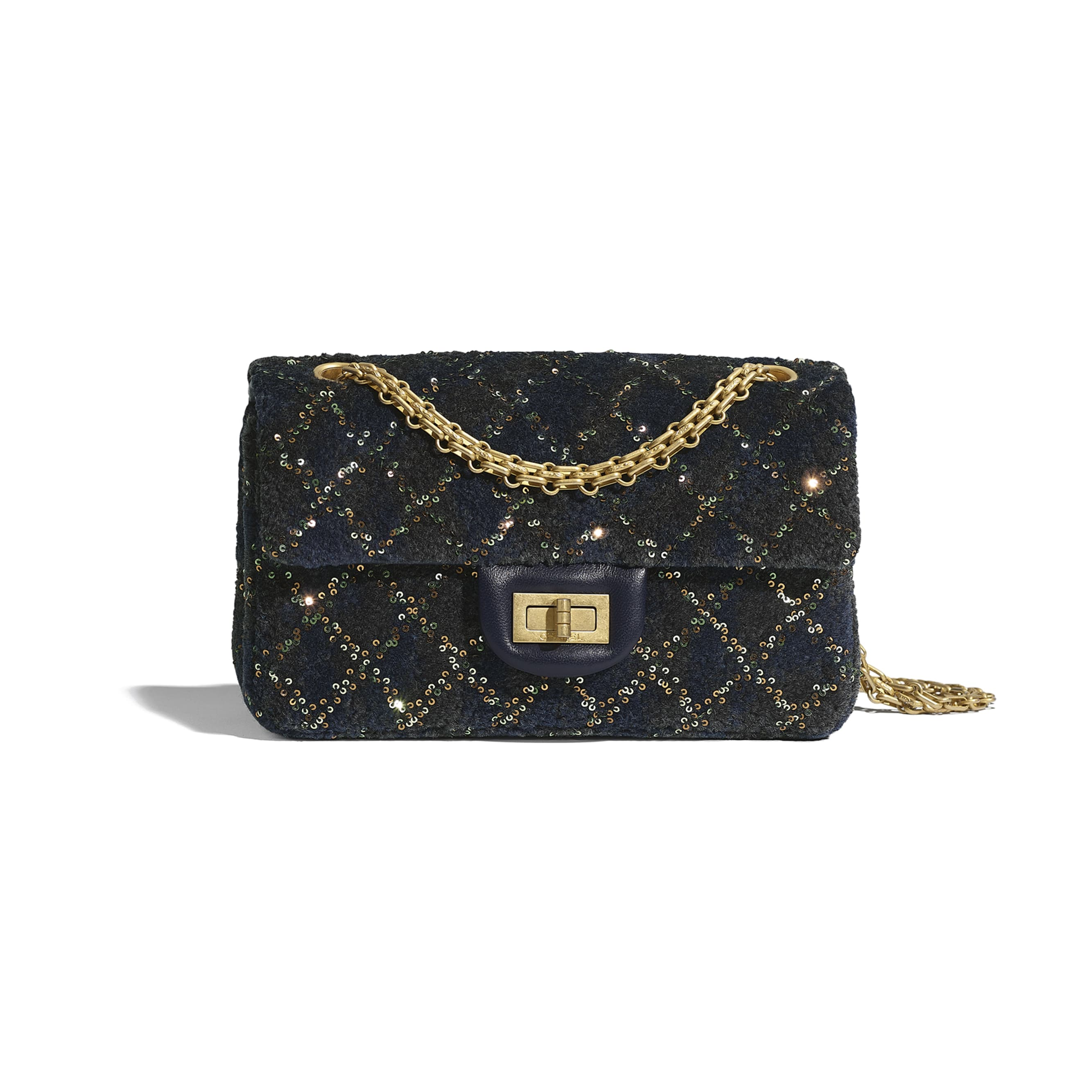 Small 2.55 Handbag - Navy Blue - Wool, Mixed Fibers, Sequins & Gold-Tone Metal - CHANEL - Default view - see standard sized version