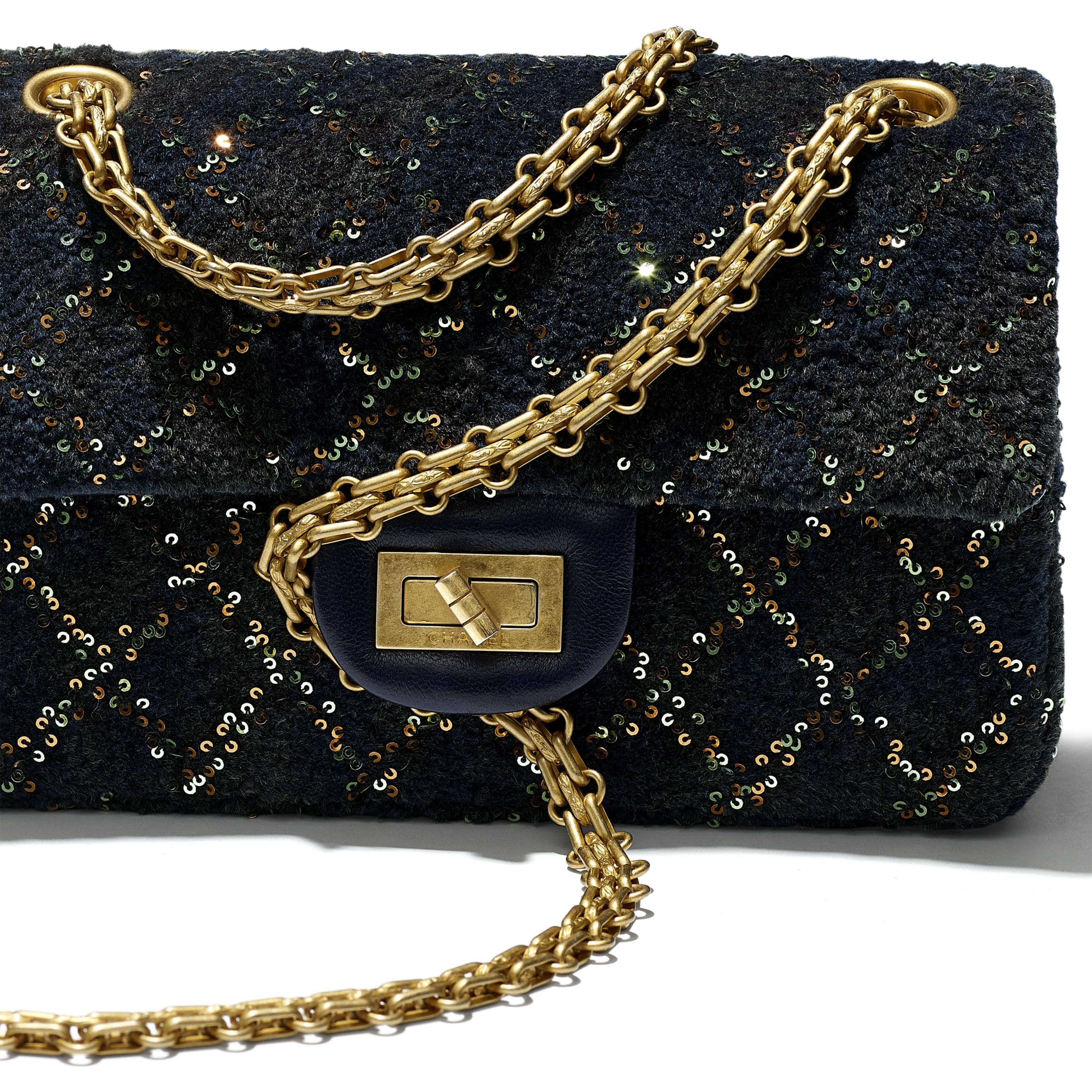 Small 2.55 Handbag - Navy Blue - Wool, Mixed Fibers, Sequins & Gold-Tone Metal - CHANEL - Extra view - see standard sized version