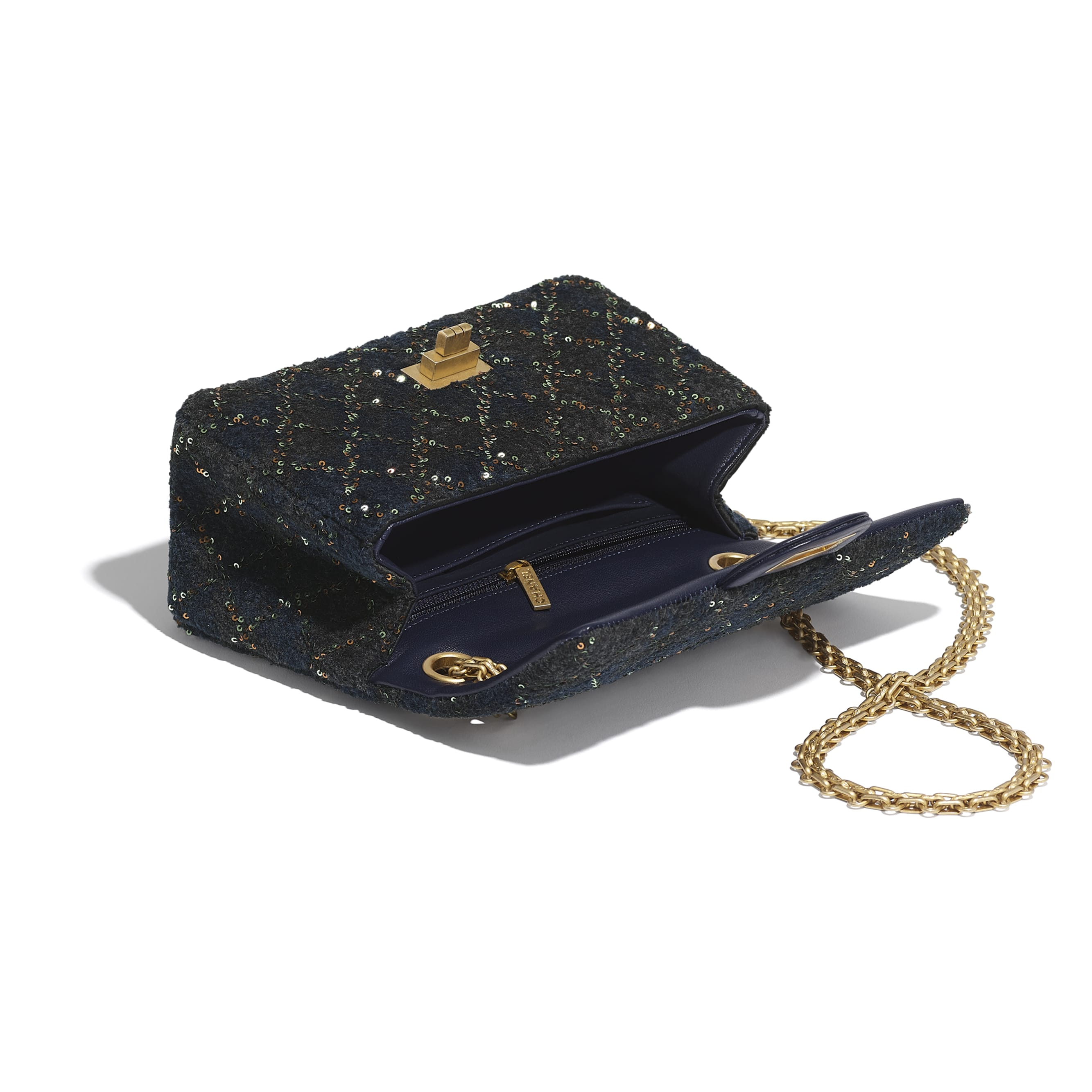 Small 2.55 Handbag - Navy Blue - Wool, Mixed Fibers, Sequins & Gold-Tone Metal - CHANEL - Other view - see standard sized version