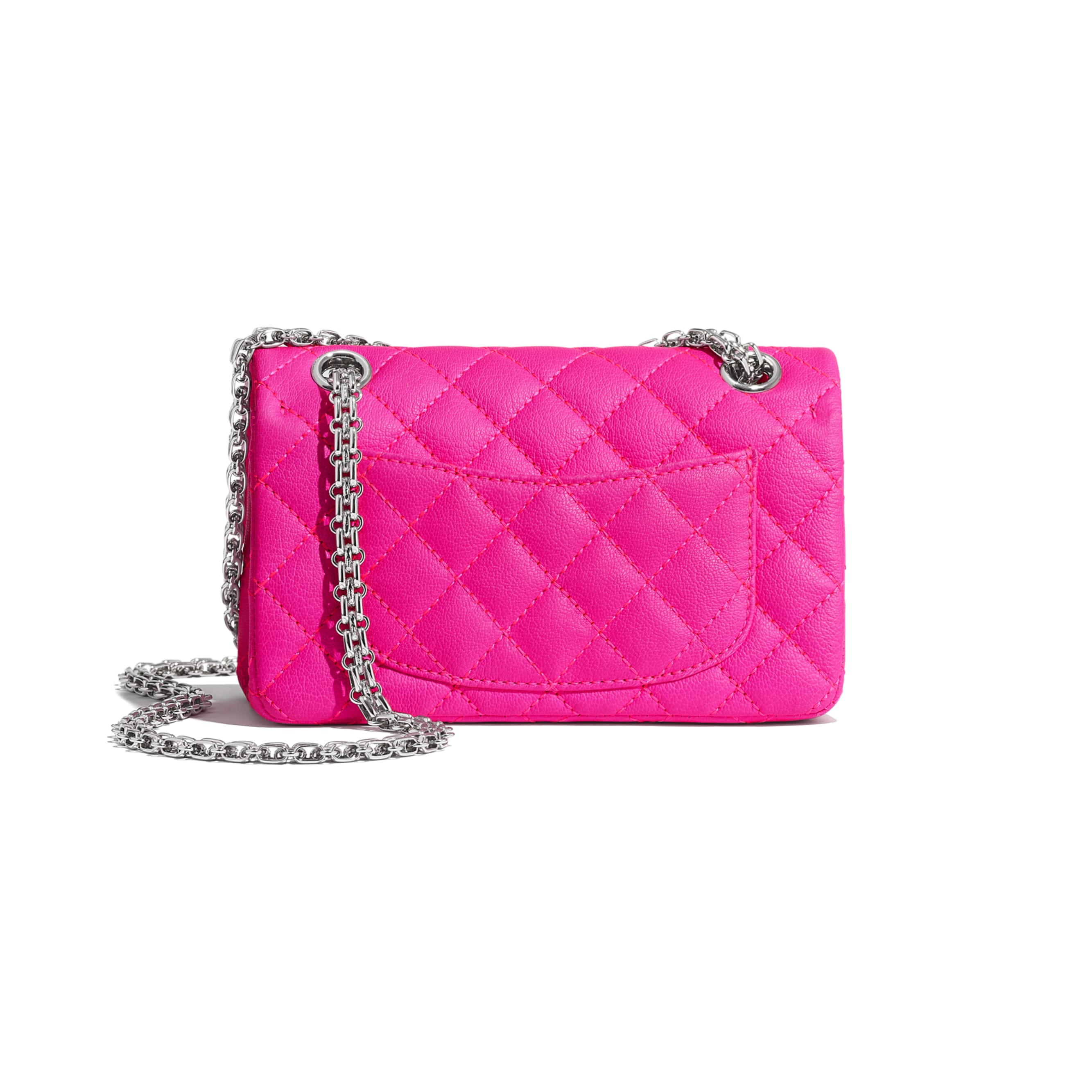 Small 2.55 Handbag - Pink - Goatskin & Silver-Tone Metal - Alternative view - see standard sized version