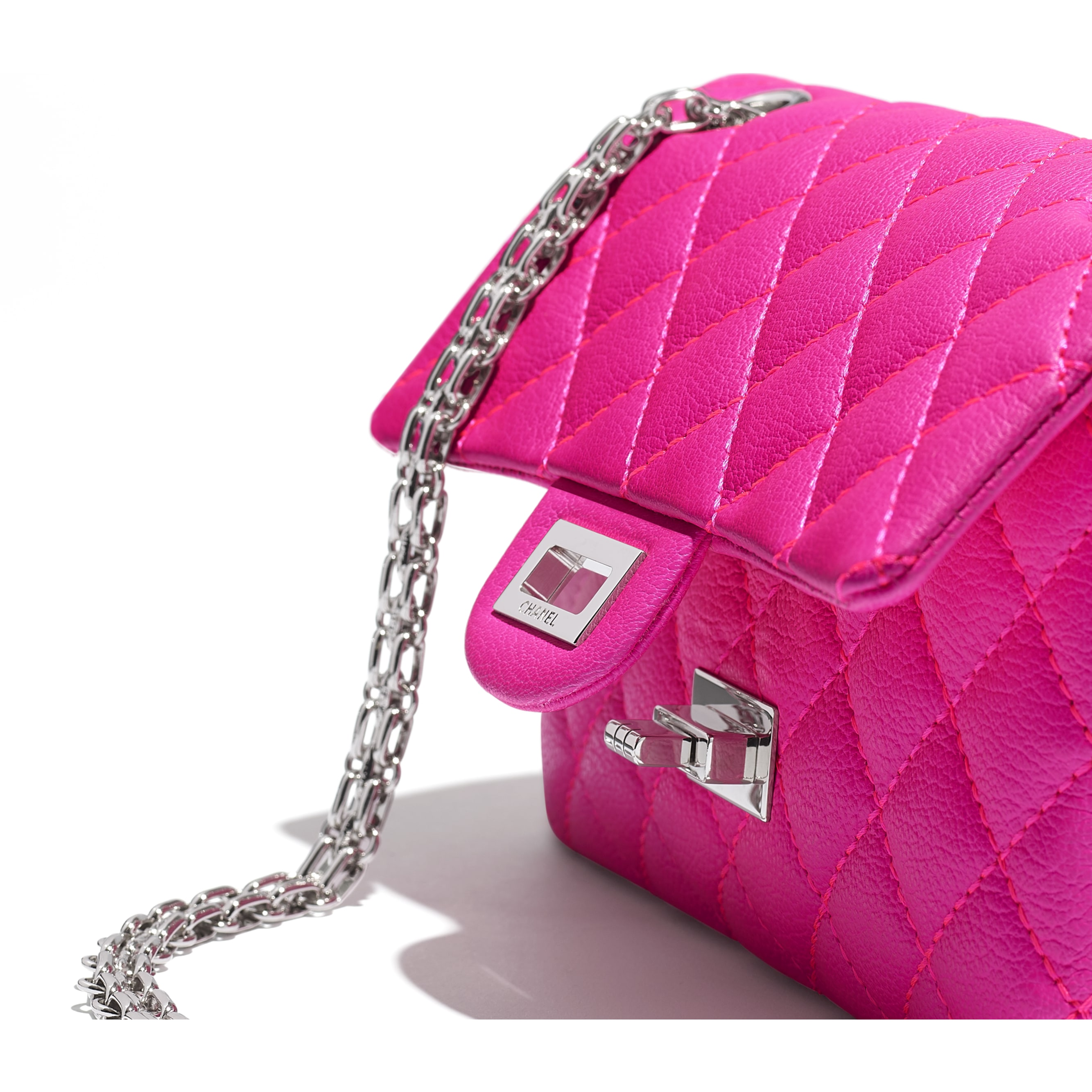 Small 2.55 Handbag - Pink - Goatskin & Silver-Tone Metal - Extra view - see standard sized version