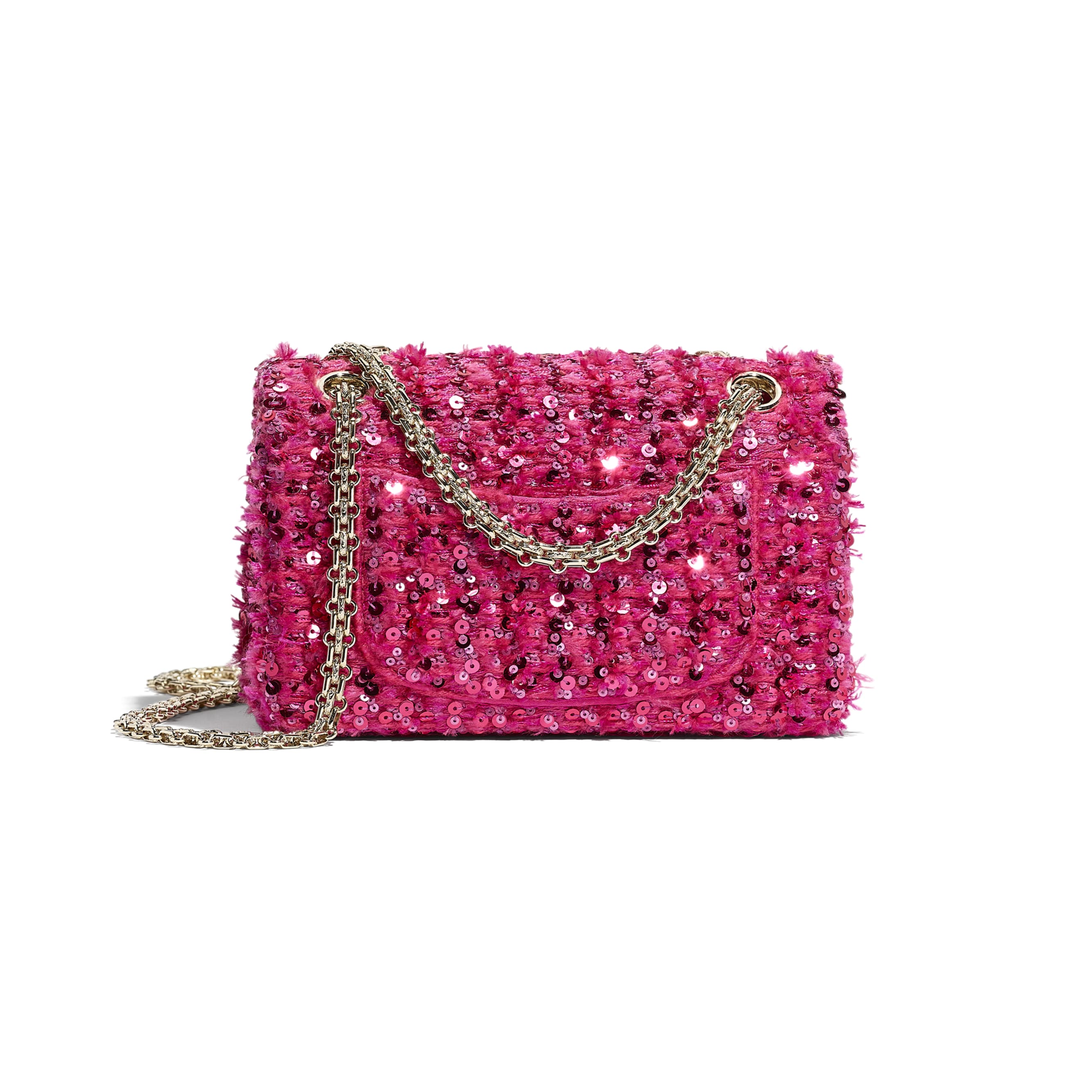 Small 2.55 Handbag - Pink - Sequins & Gold-Tone Metal - CHANEL - Alternative view - see standard sized version