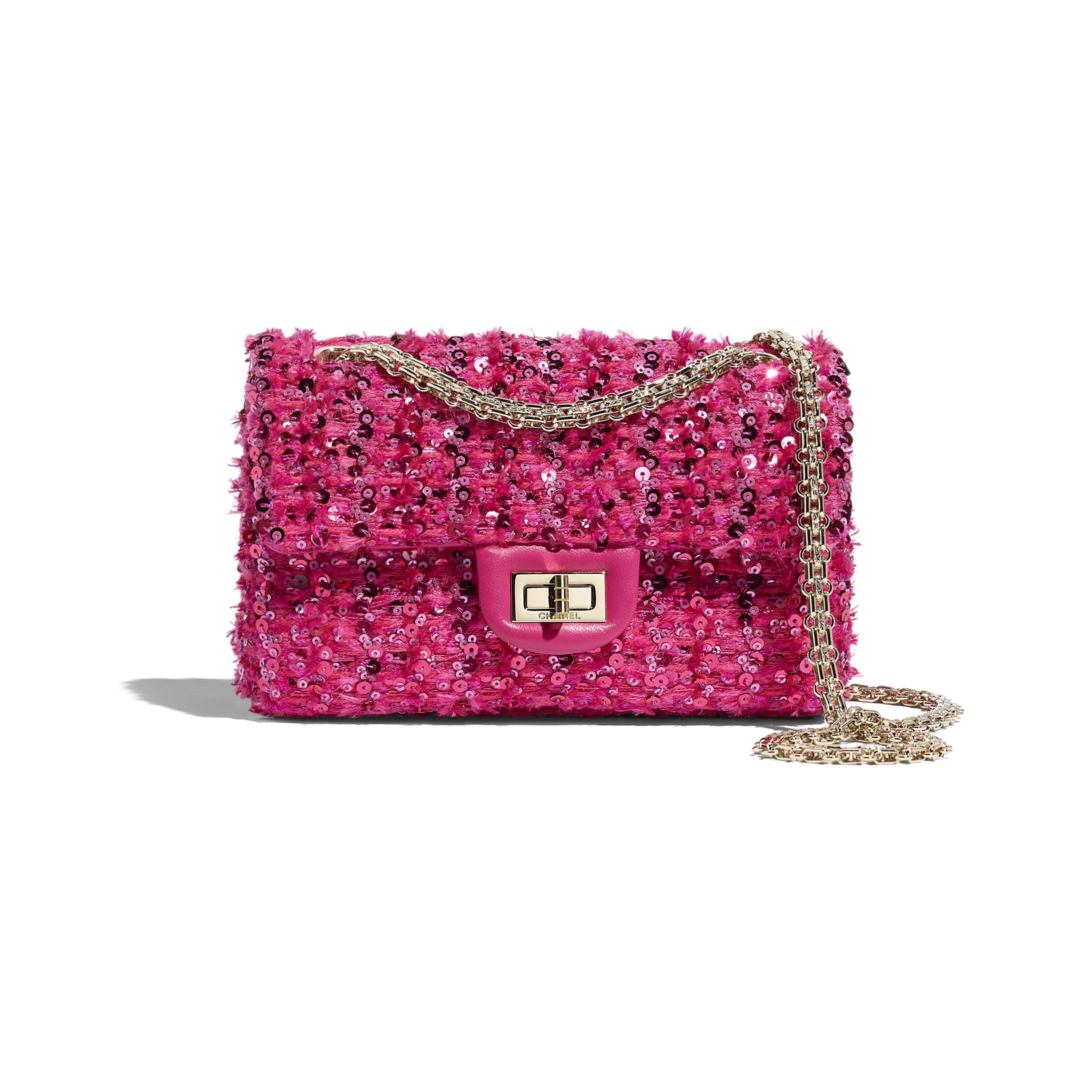 Small 2.55 Handbag - Pink - Sequins & Gold-Tone Metal - CHANEL - Default view - see standard sized version