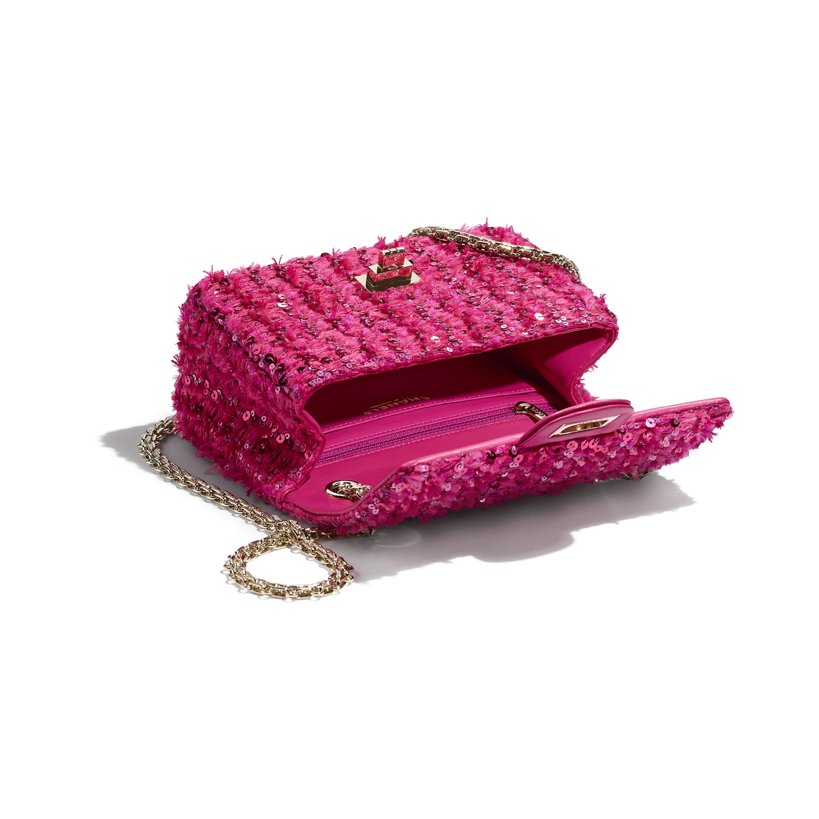 Small 2.55 Handbag - Pink - Sequins & Gold-Tone Metal - CHANEL - Other view - see standard sized version