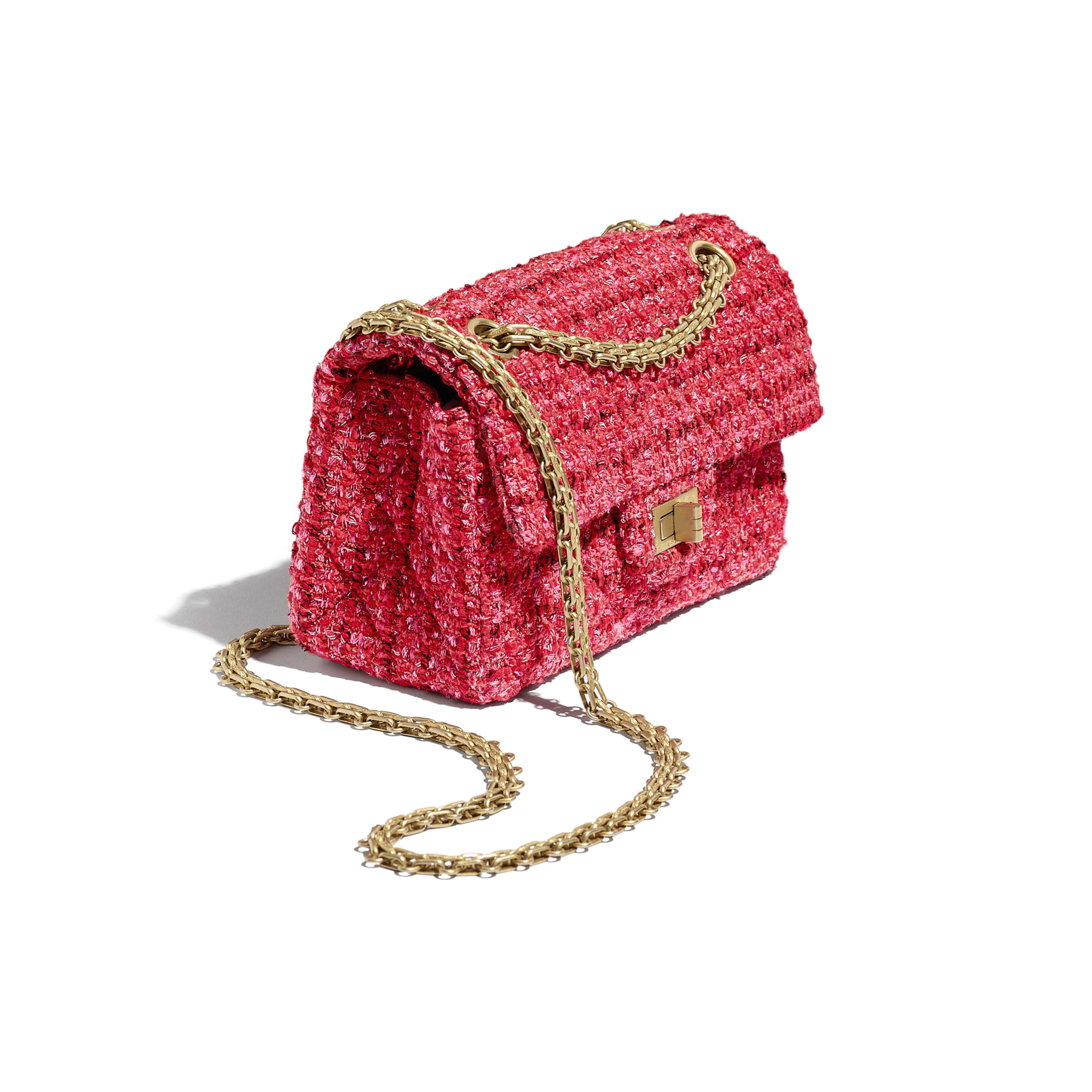 Small 2.55 Handbag - Red, Ecru & Black - Tweed & Gold Metal - Extra view - see standard sized version