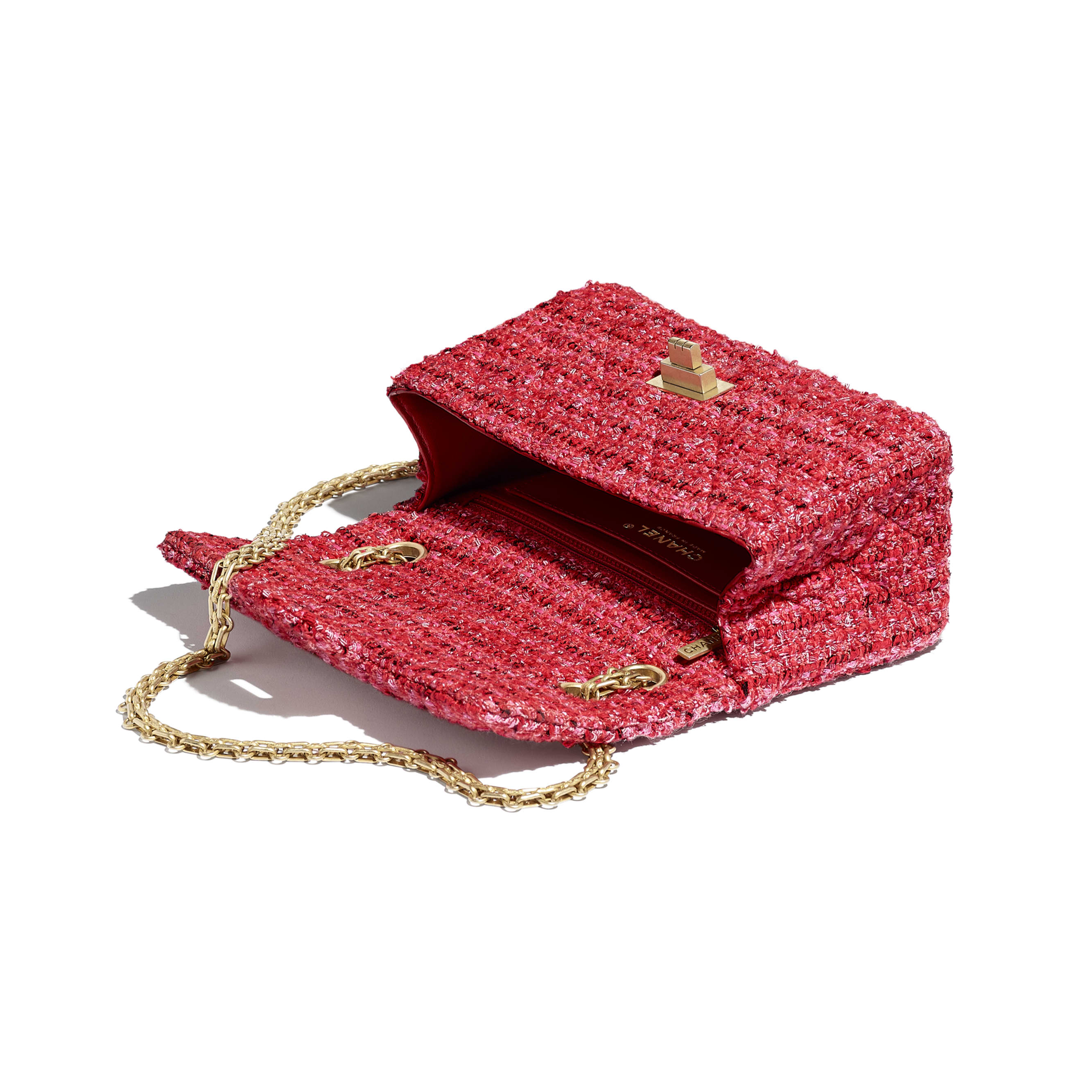 Small 2.55 Handbag - Red, Ecru & Black - Tweed & Gold Metal - Other view - see standard sized version