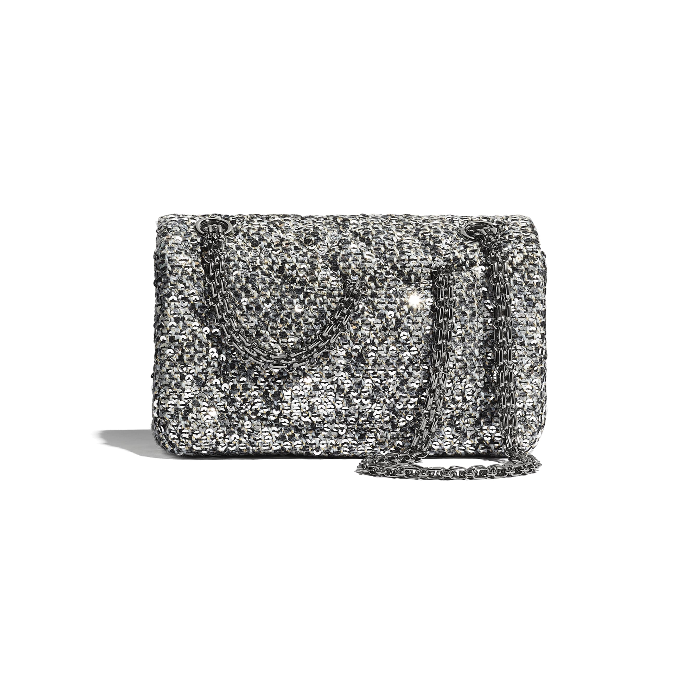 Small 2.55 Handbag - Silver, Black & Gold - Tweed, Sequins & Ruthenium-Finish Metal - CHANEL - Alternative view - see standard sized version