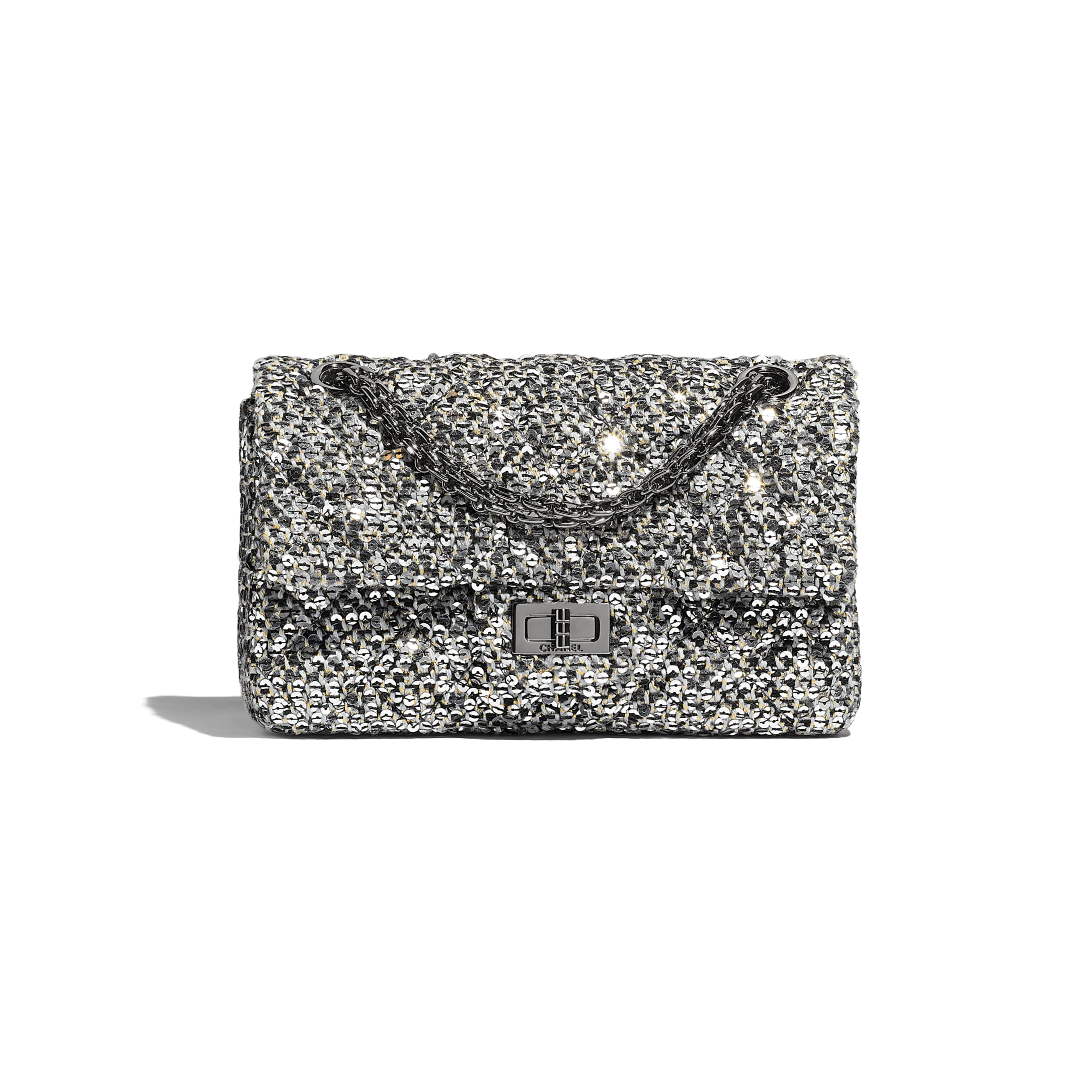 Small 2.55 Handbag - Silver, Black & Gold - Tweed, Sequins & Ruthenium-Finish Metal - CHANEL - Default view - see standard sized version