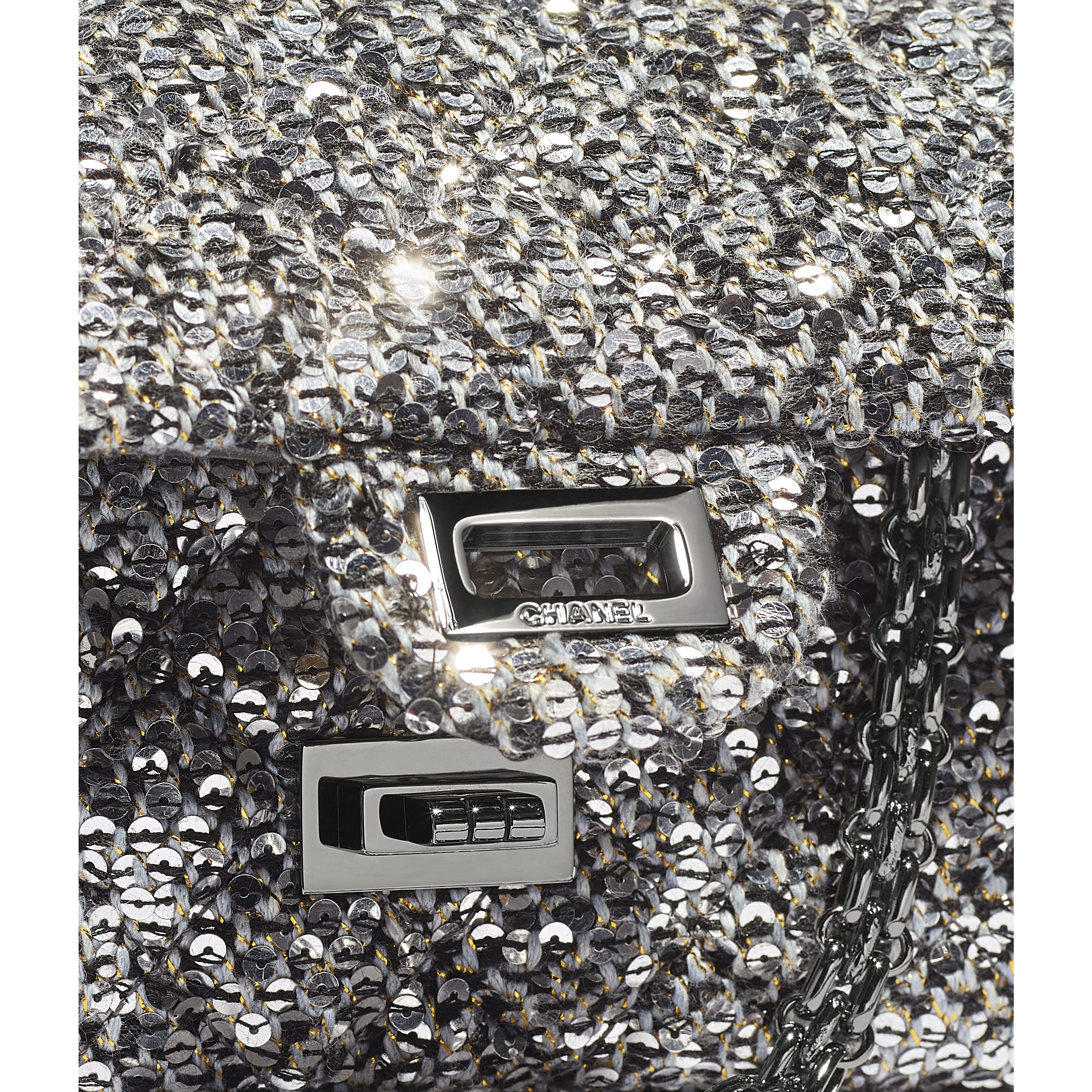 Small 2.55 Handbag - Silver, Black & Gold - Tweed, Sequins & Ruthenium-Finish Metal - CHANEL - Extra view - see standard sized version