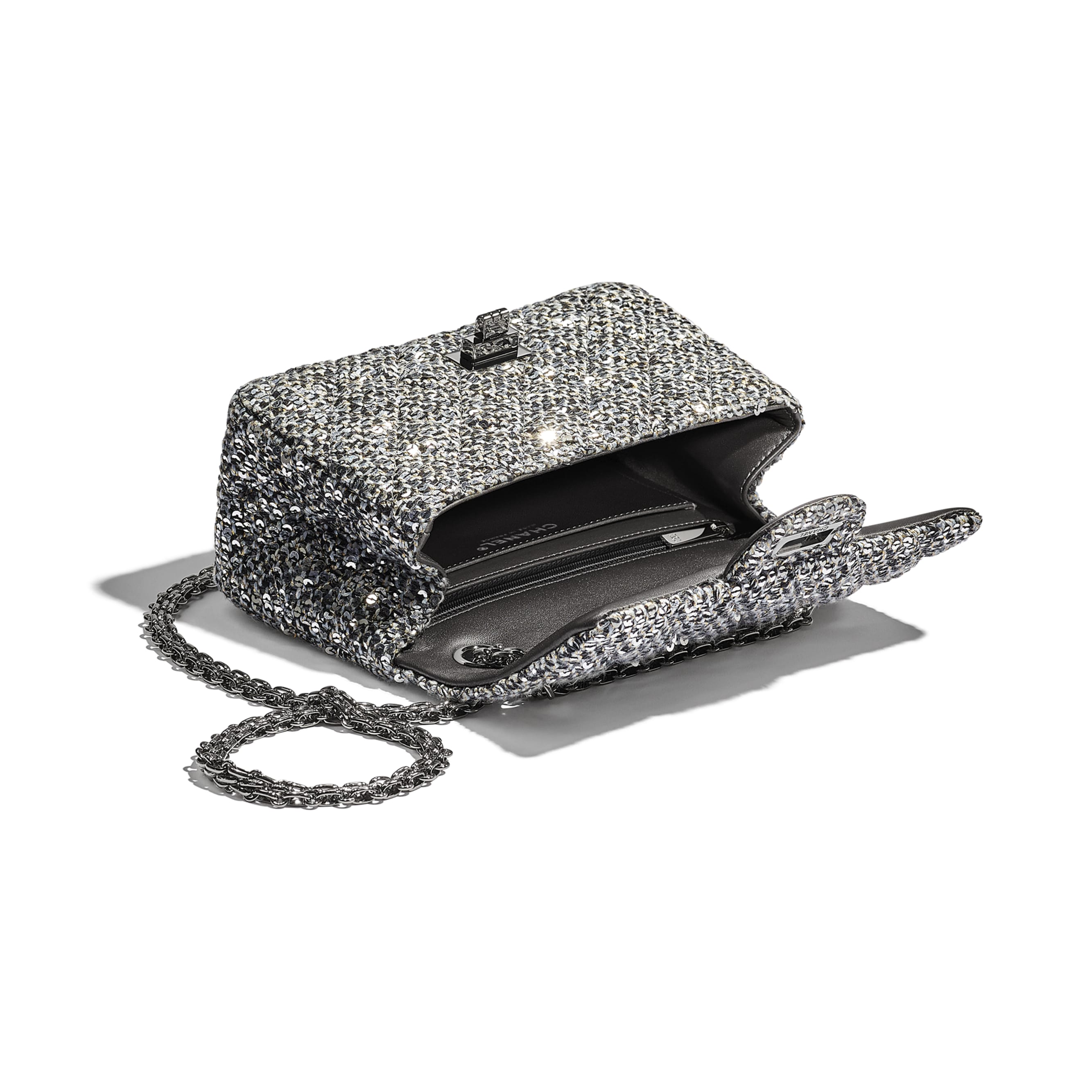 Small 2.55 Handbag - Silver, Black & Gold - Tweed, Sequins & Ruthenium-Finish Metal - CHANEL - Other view - see standard sized version