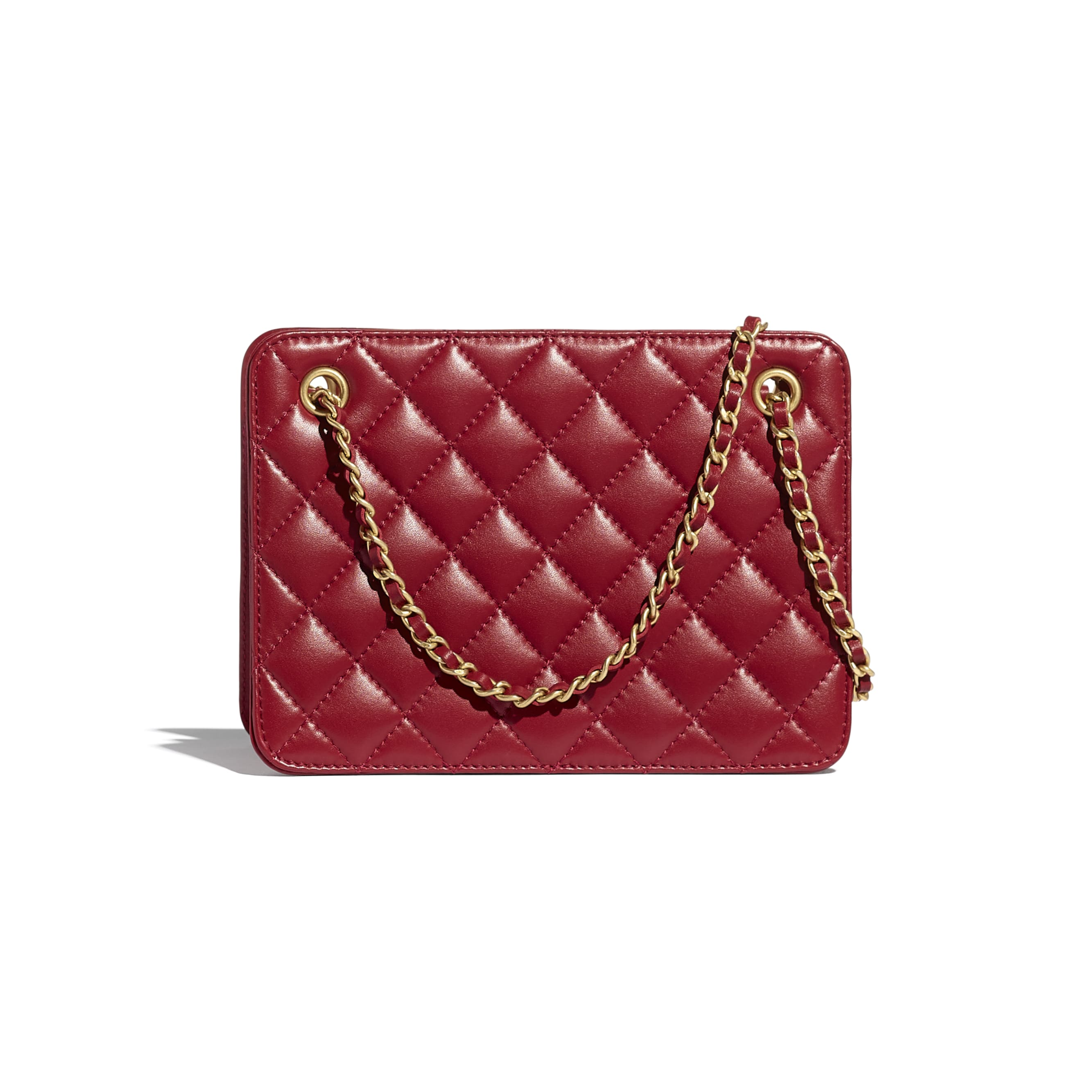 Small Accordion Handbag - Red - Calfskin & Gold-Tone Metal - CHANEL - Alternative view - see standard sized version