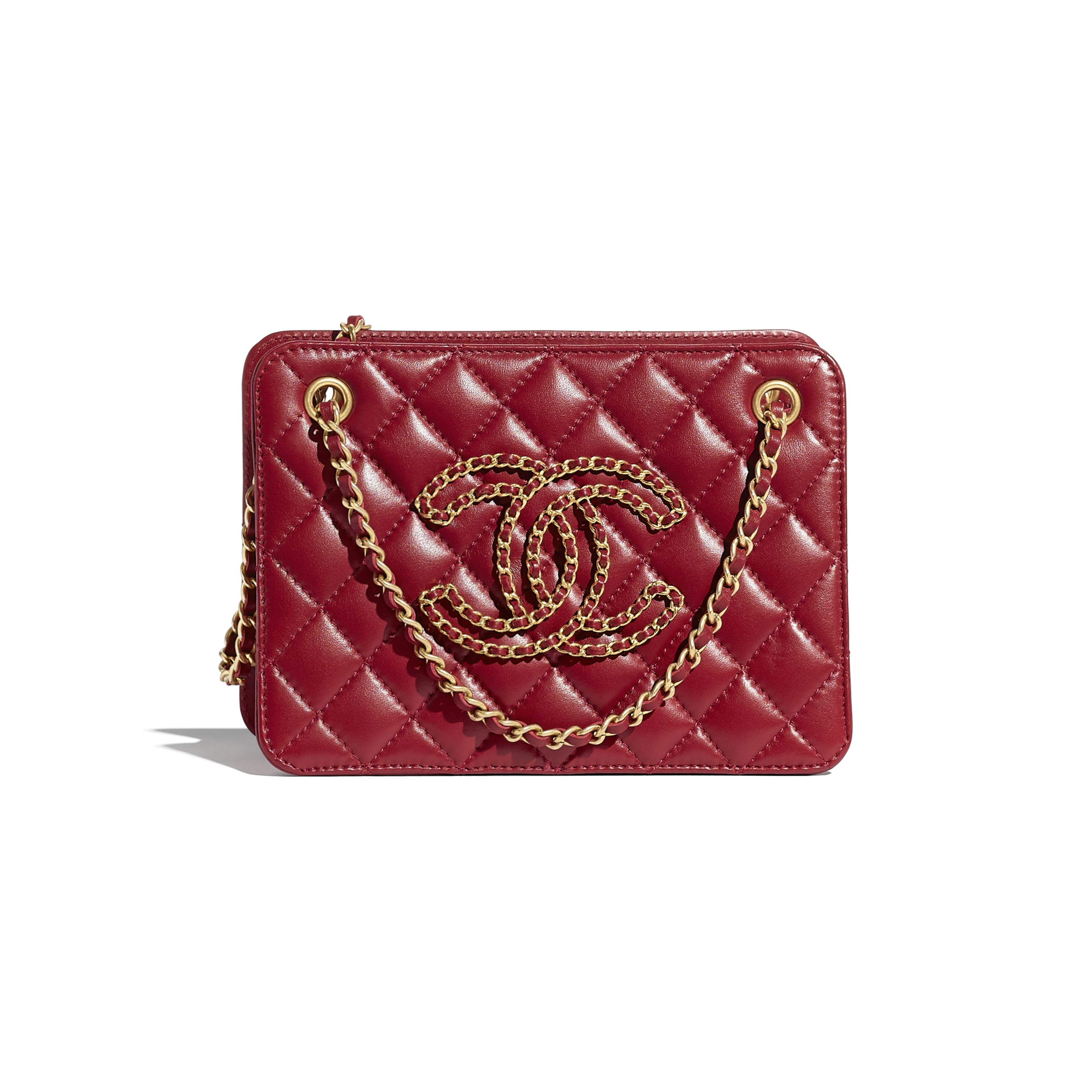 Small Accordion Handbag - Red - Calfskin & Gold-Tone Metal - CHANEL - Default view - see standard sized version