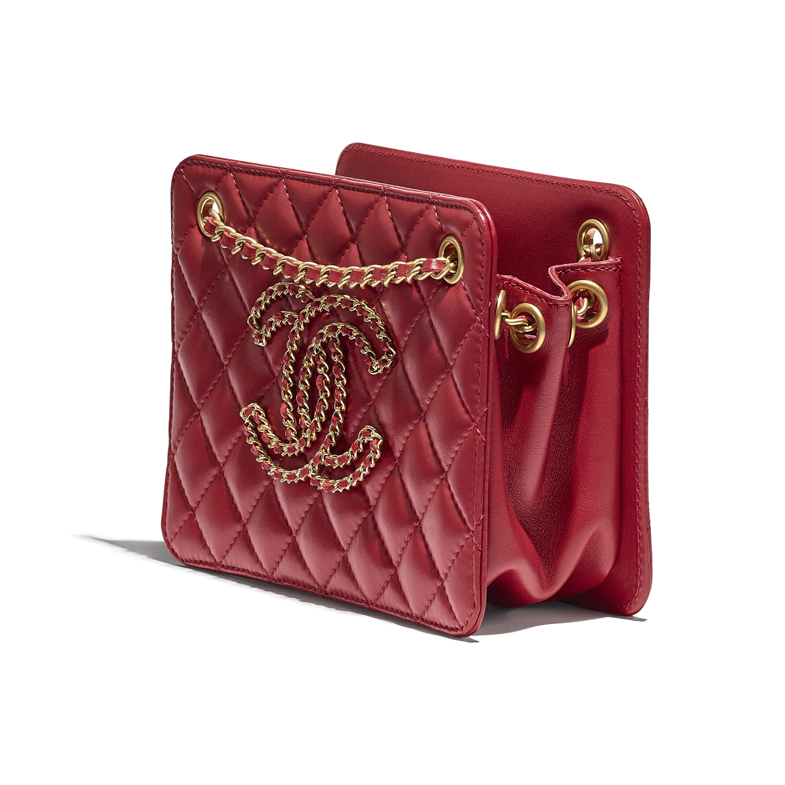 Small Accordion Handbag - Red - Calfskin & Gold-Tone Metal - CHANEL - Extra view - see standard sized version