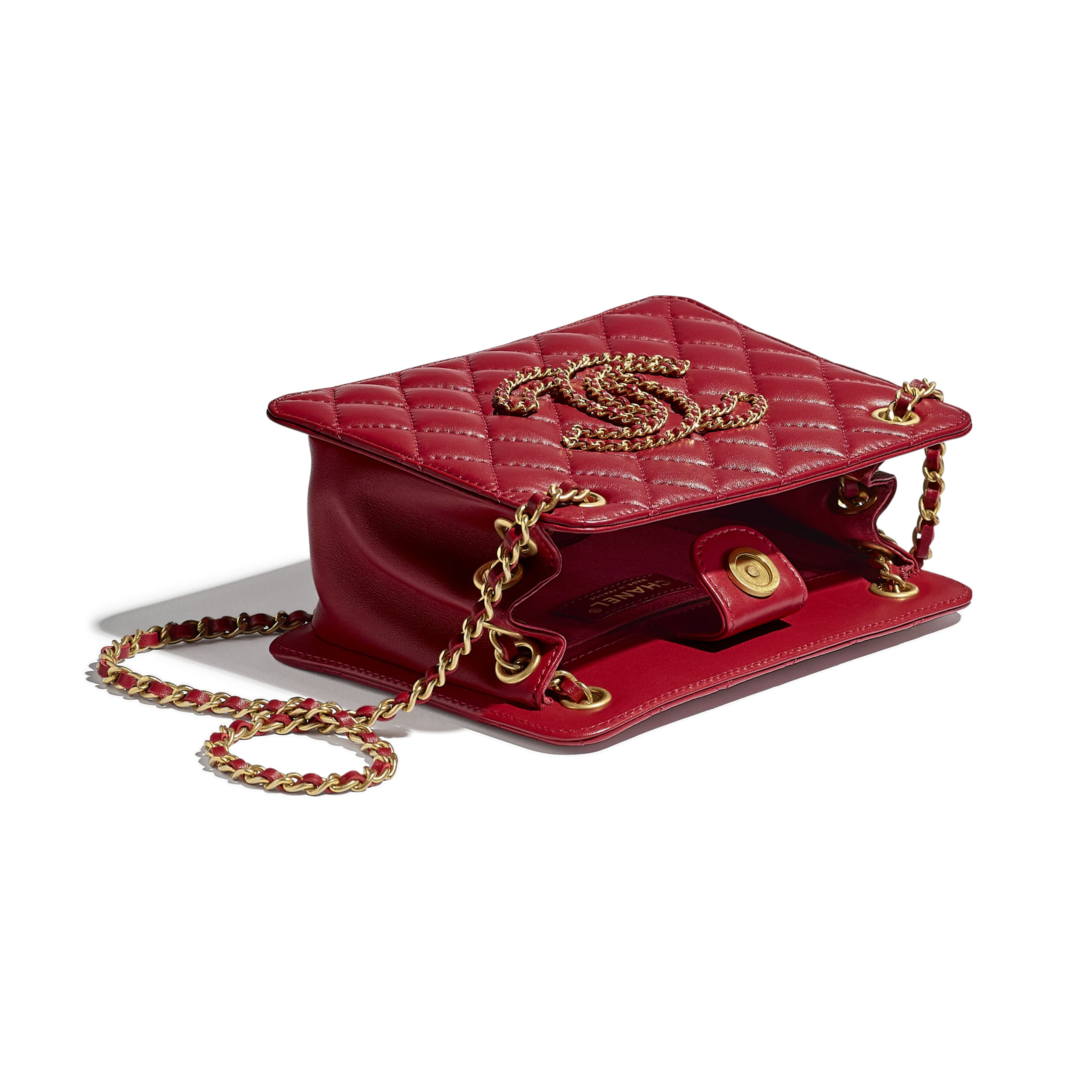 Small Accordion Handbag - Red - Calfskin & Gold-Tone Metal - CHANEL - Other view - see standard sized version