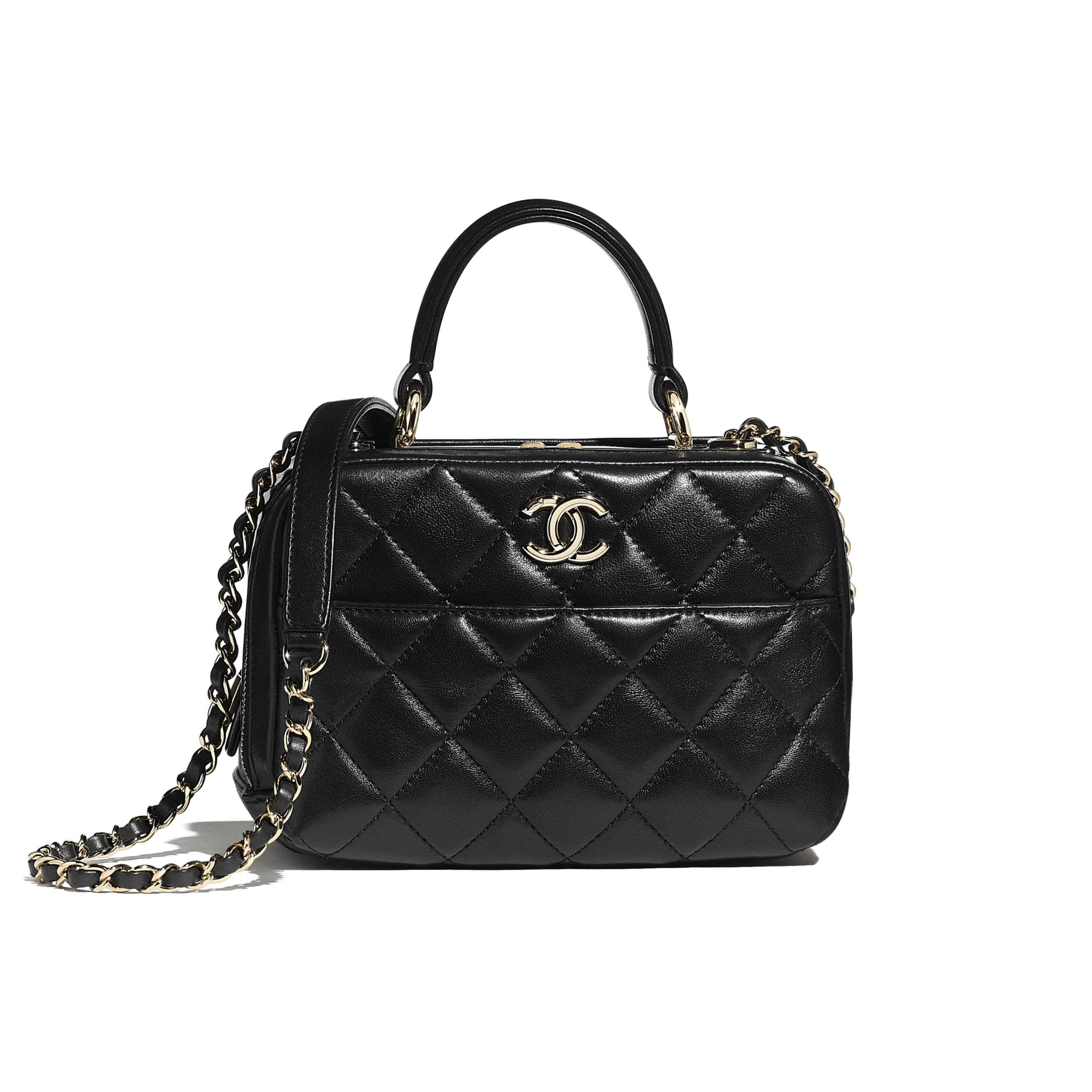 Small Bowling Bag - Black - Lambskin - CHANEL - Default view - see standard sized version