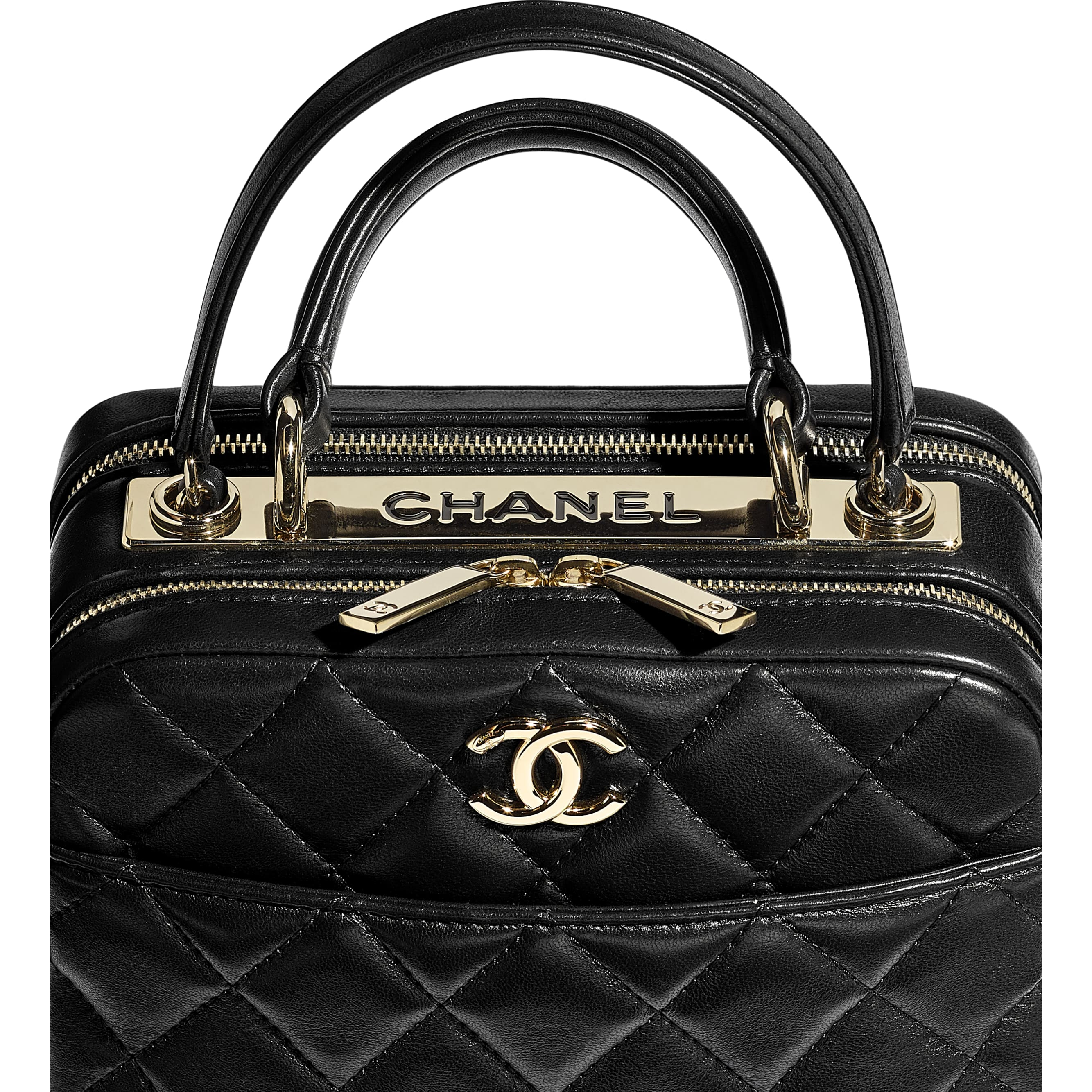 Small Bowling Bag - Black - Lambskin - CHANEL - Extra view - see standard sized version