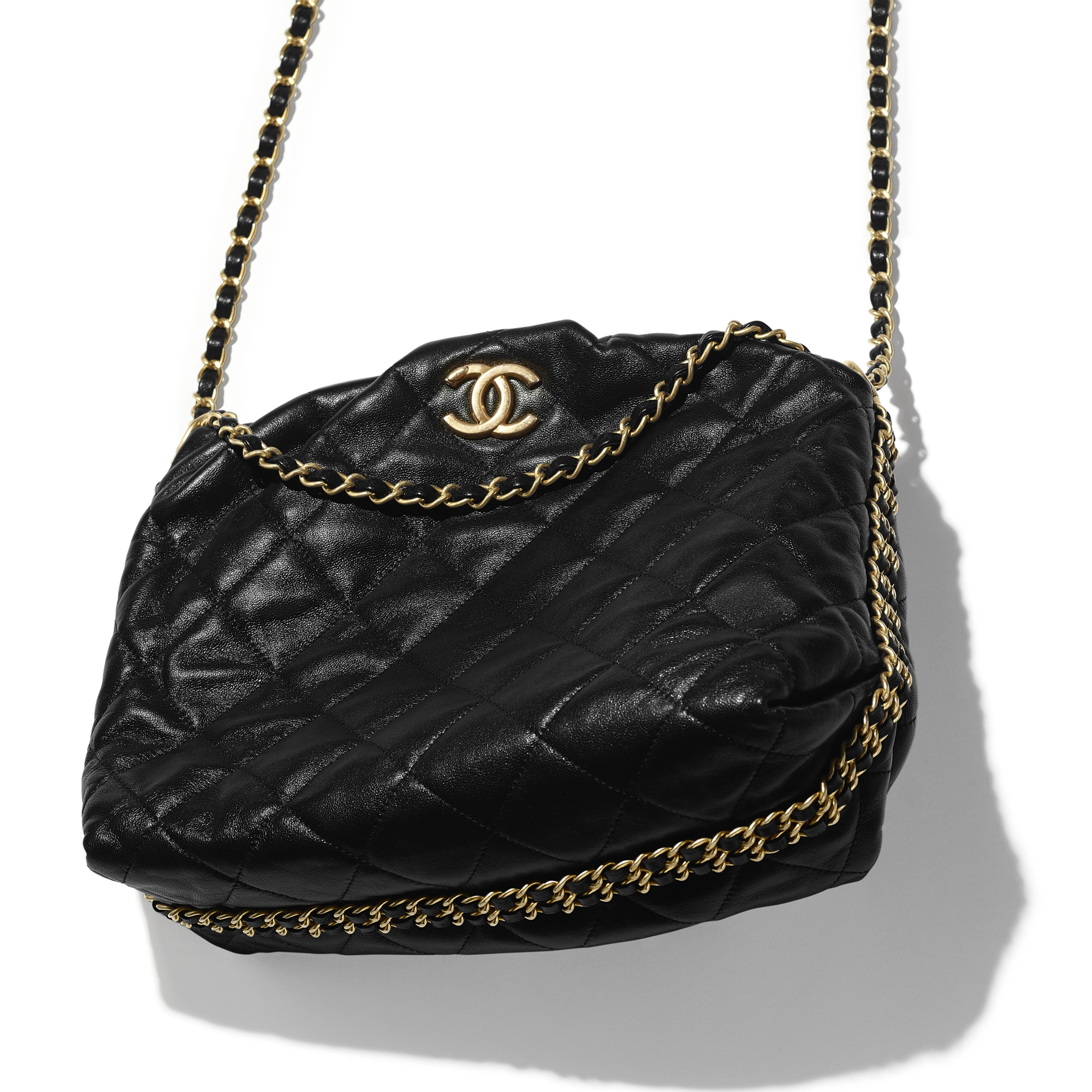 Small Bowling Bag - Black - Lambskin & Gold-Tone Metal - CHANEL - Extra view - see standard sized version