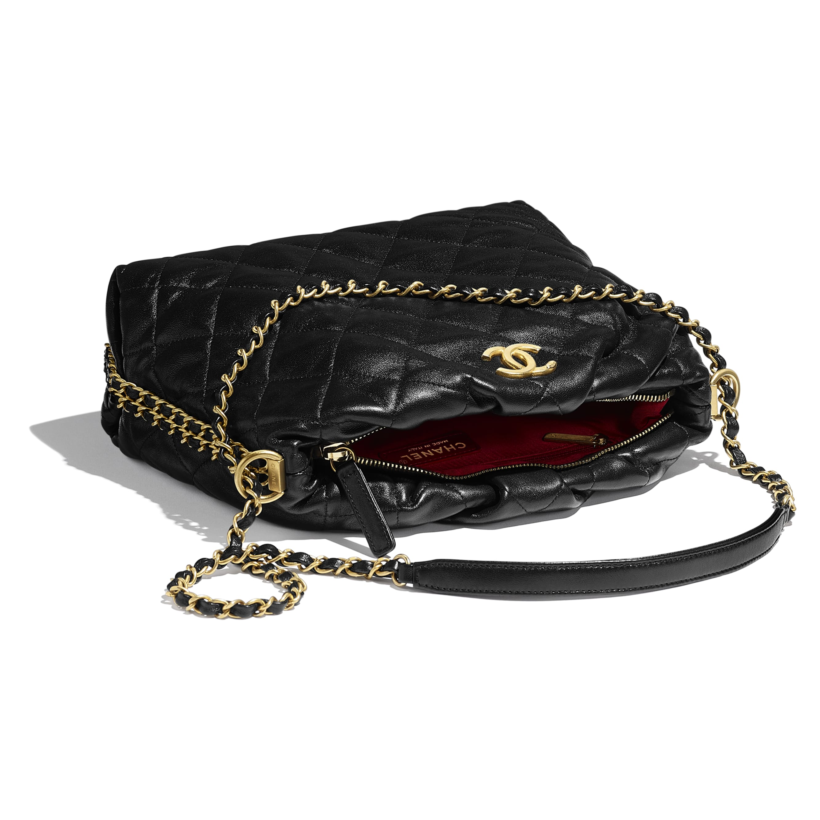 Small Bowling Bag - Black - Lambskin & Gold-Tone Metal - CHANEL - Other view - see standard sized version