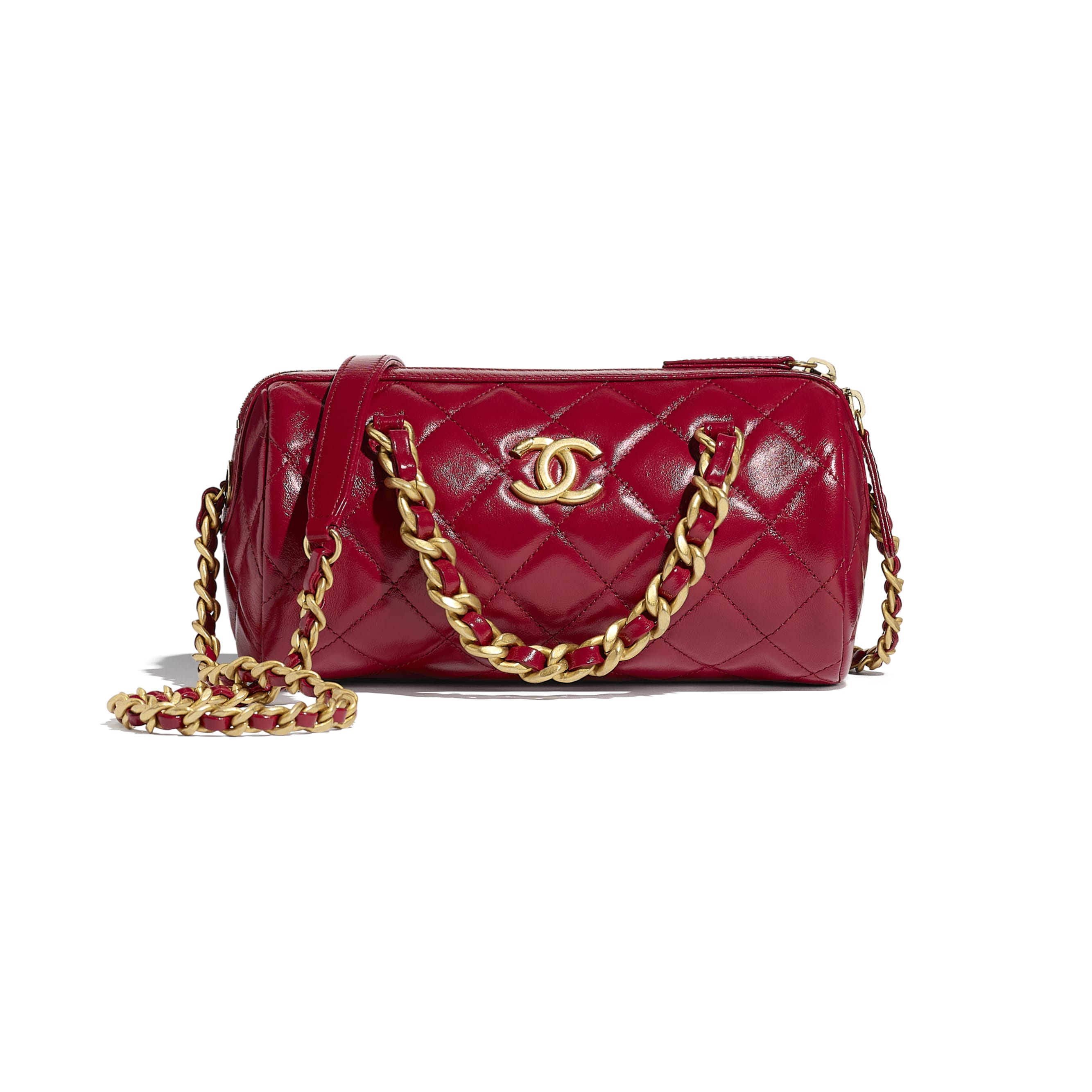 Small Bowling Bag - Pink - Shiny Lambskin & Gold-Tone Metal - CHANEL - Default view - see standard sized version
