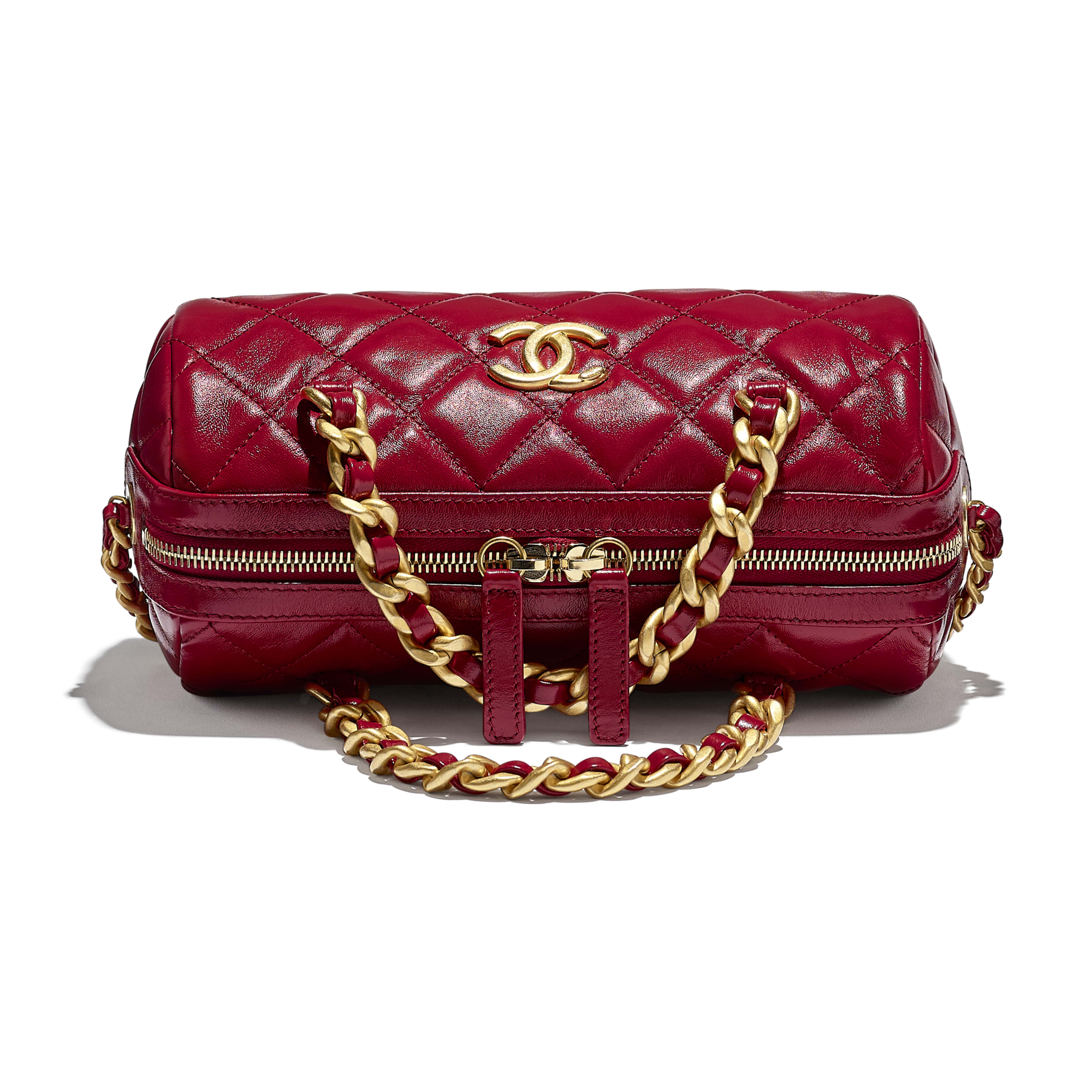 Small Bowling Bag - Pink - Shiny Lambskin & Gold-Tone Metal - CHANEL - Extra view - see standard sized version