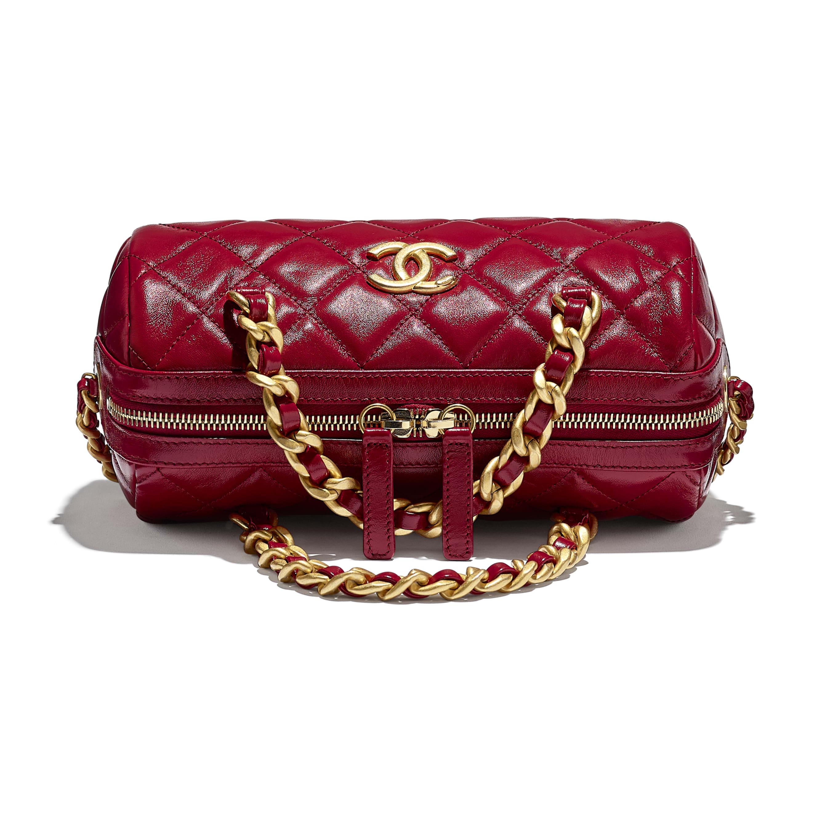 Petit sac bowling - Rose - Agneau brillant & métal doré - CHANEL - Vue supplémentaire - voir la version taille standard