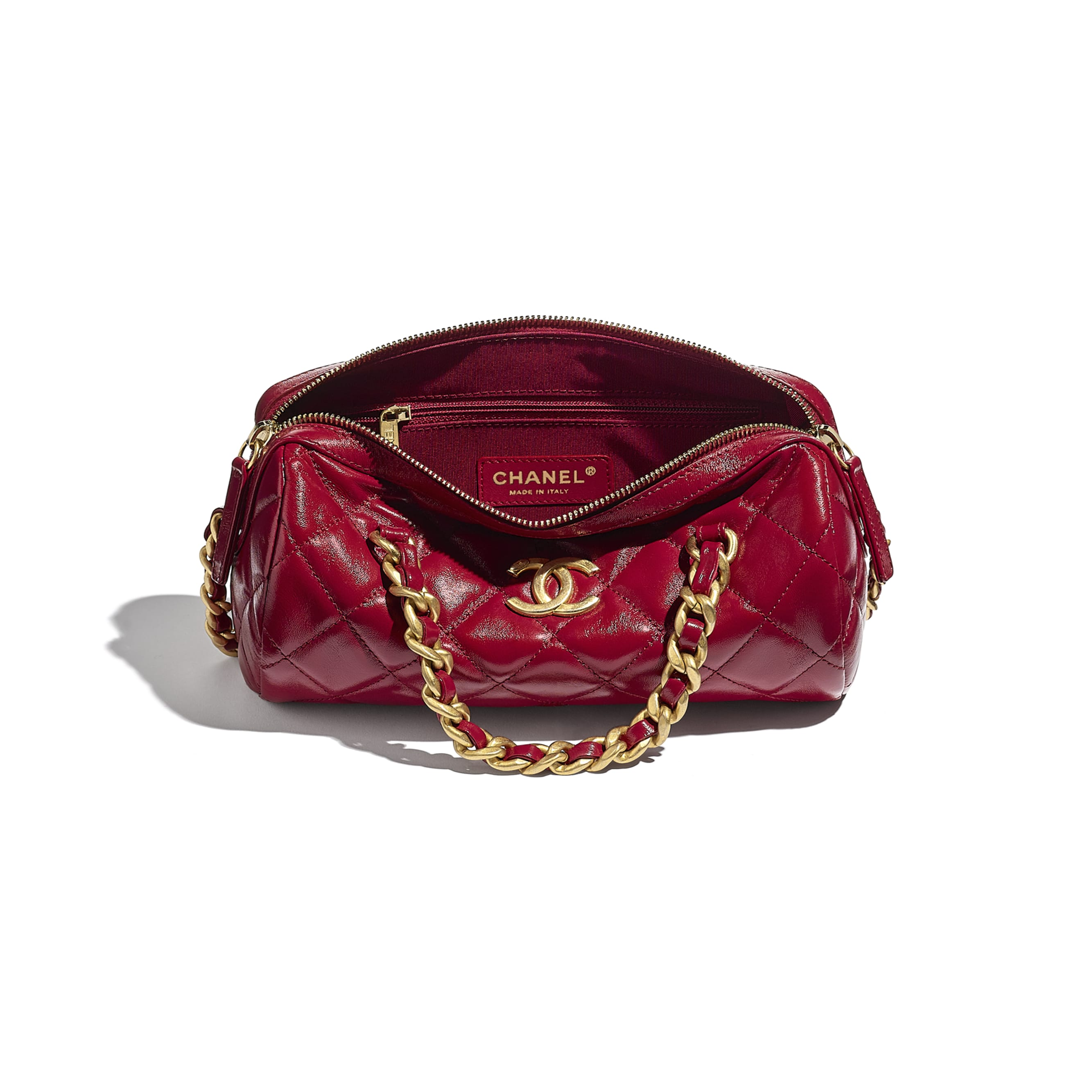 Small Bowling Bag - Pink - Shiny Lambskin & Gold-Tone Metal - CHANEL - Other view - see standard sized version