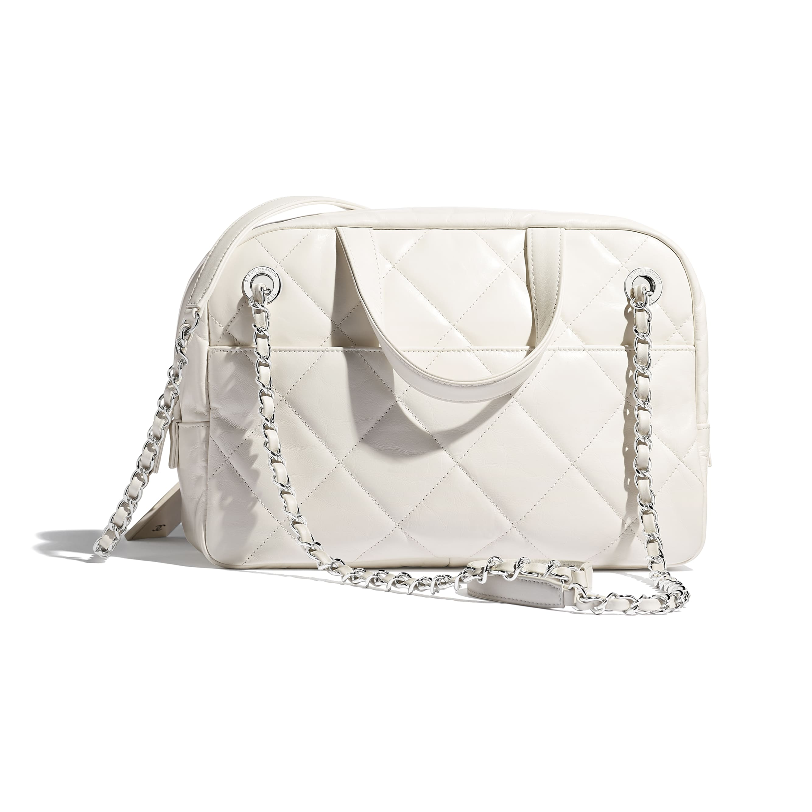 Small Bowling Bag - White - Calfskin & Silver-Tone Metal - CHANEL - Alternative view - see standard sized version