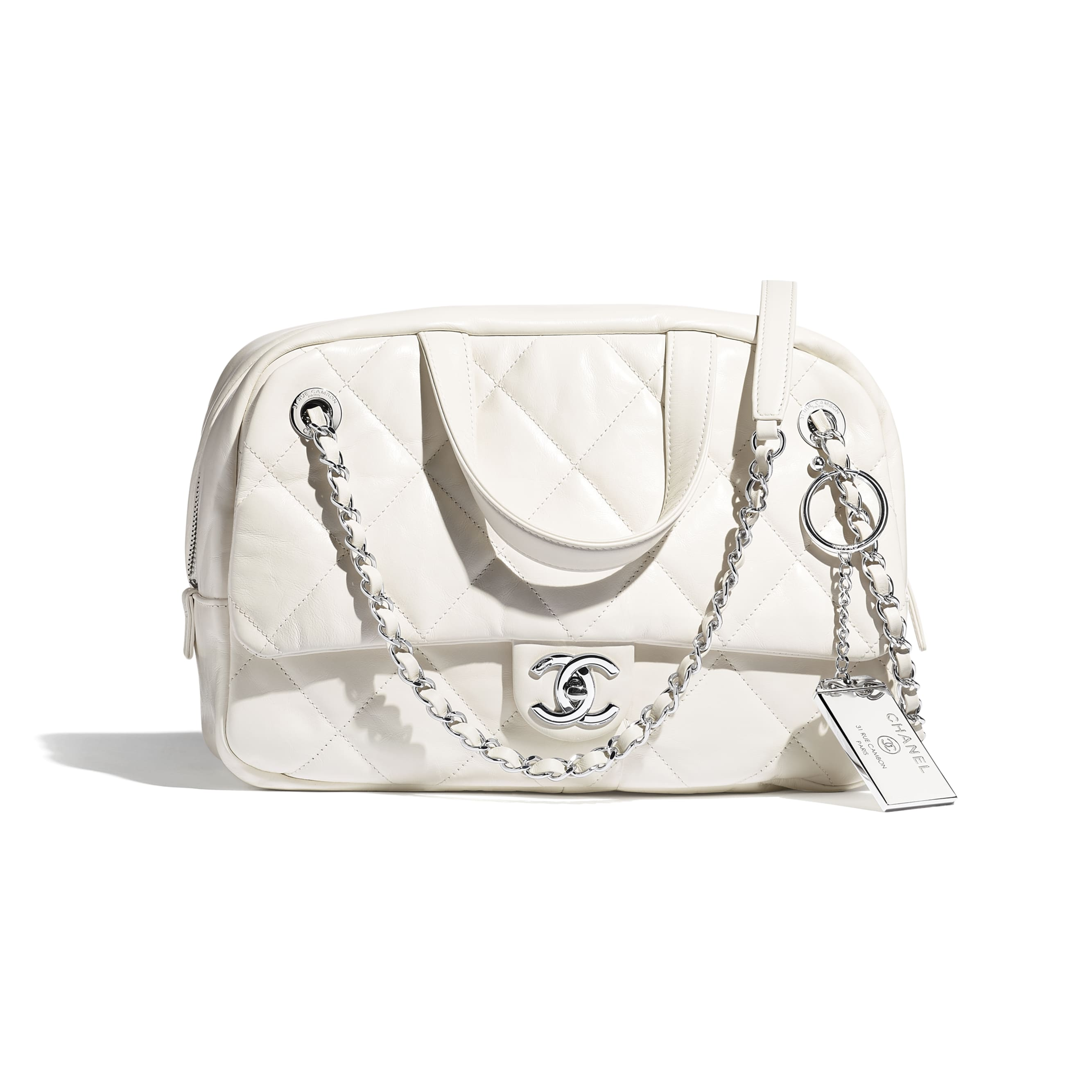 Small Bowling Bag - White - Calfskin & Silver-Tone Metal - CHANEL - Default view - see standard sized version