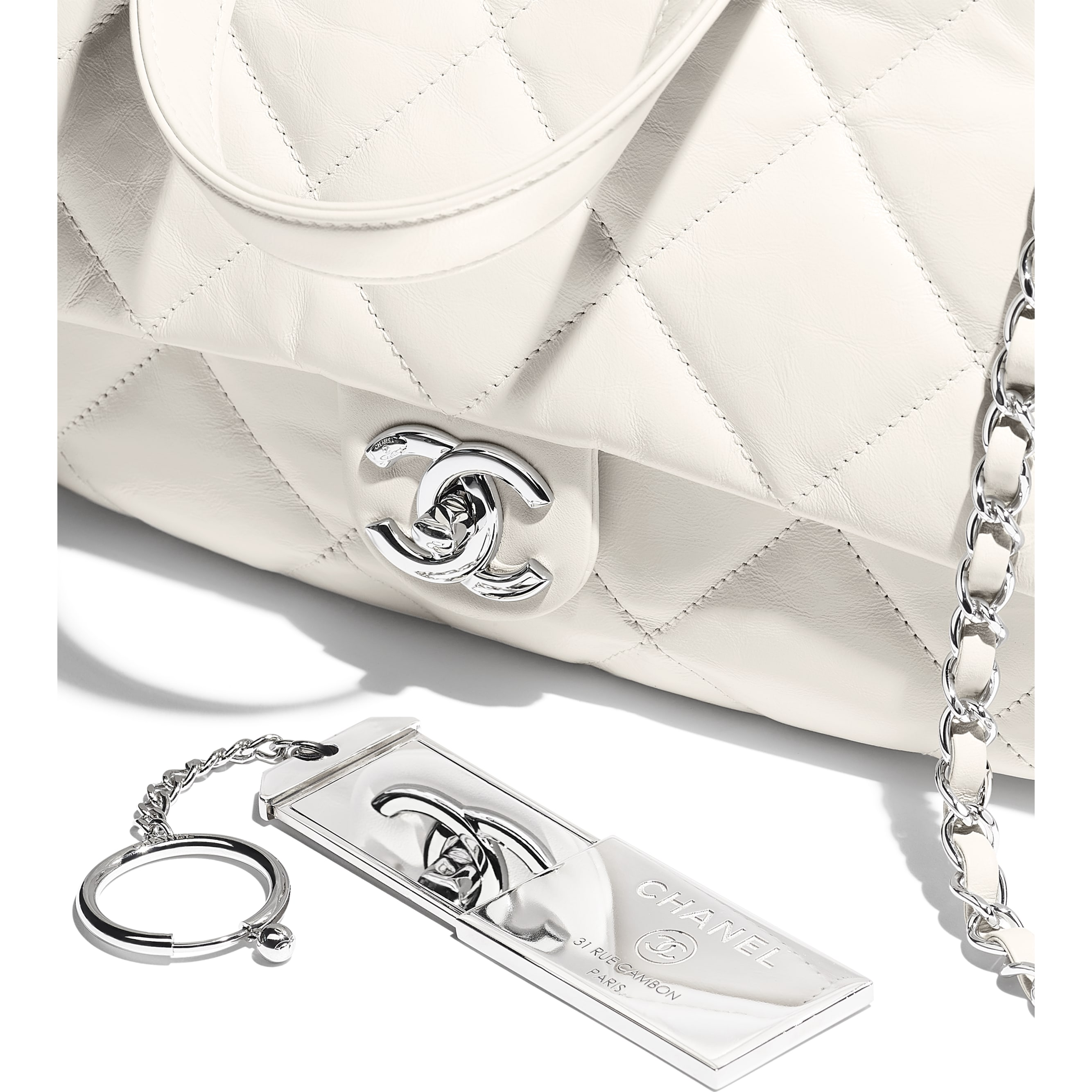 Small Bowling Bag - White - Calfskin & Silver-Tone Metal - CHANEL - Extra view - see standard sized version