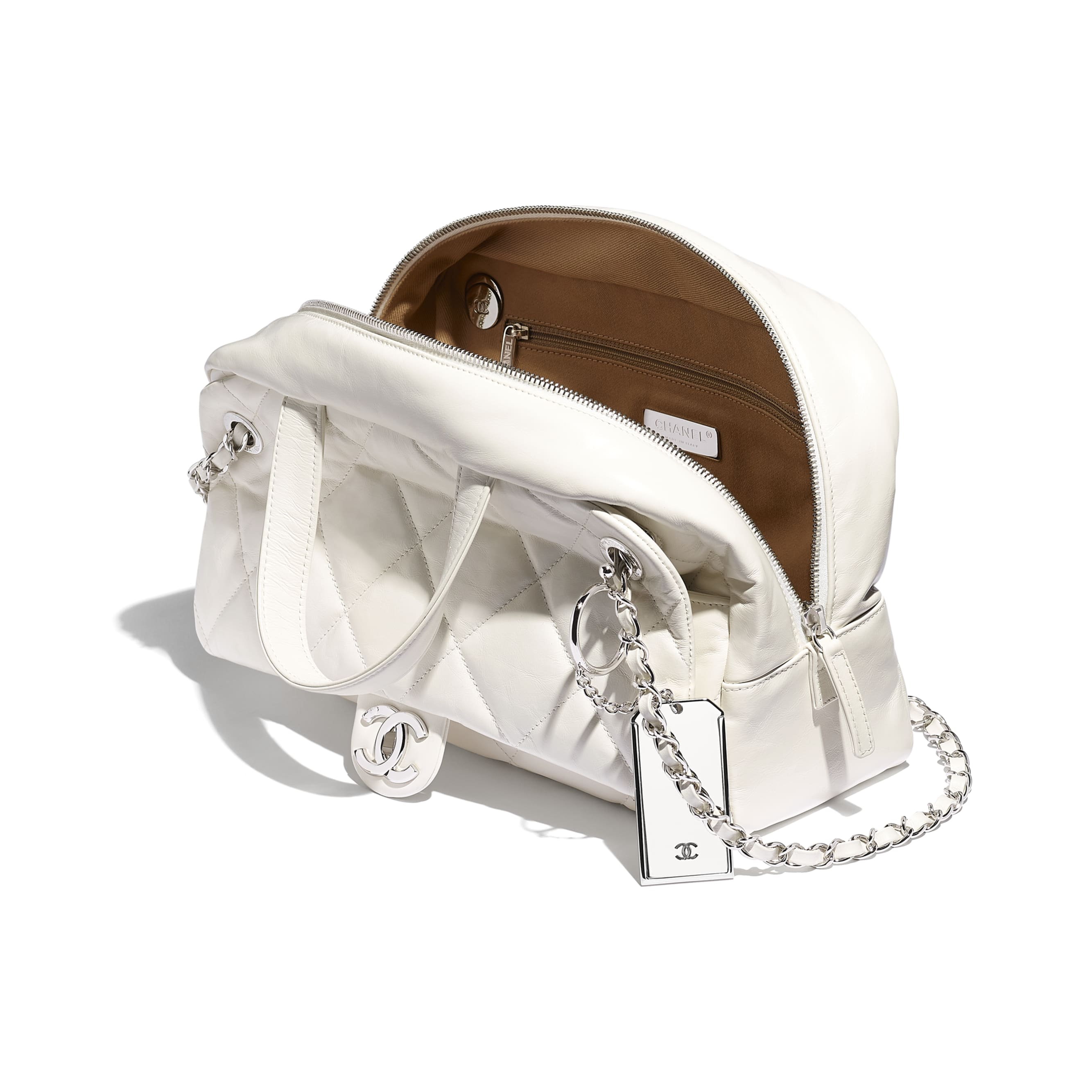 Small Bowling Bag - White - Calfskin & Silver-Tone Metal - CHANEL - Other view - see standard sized version