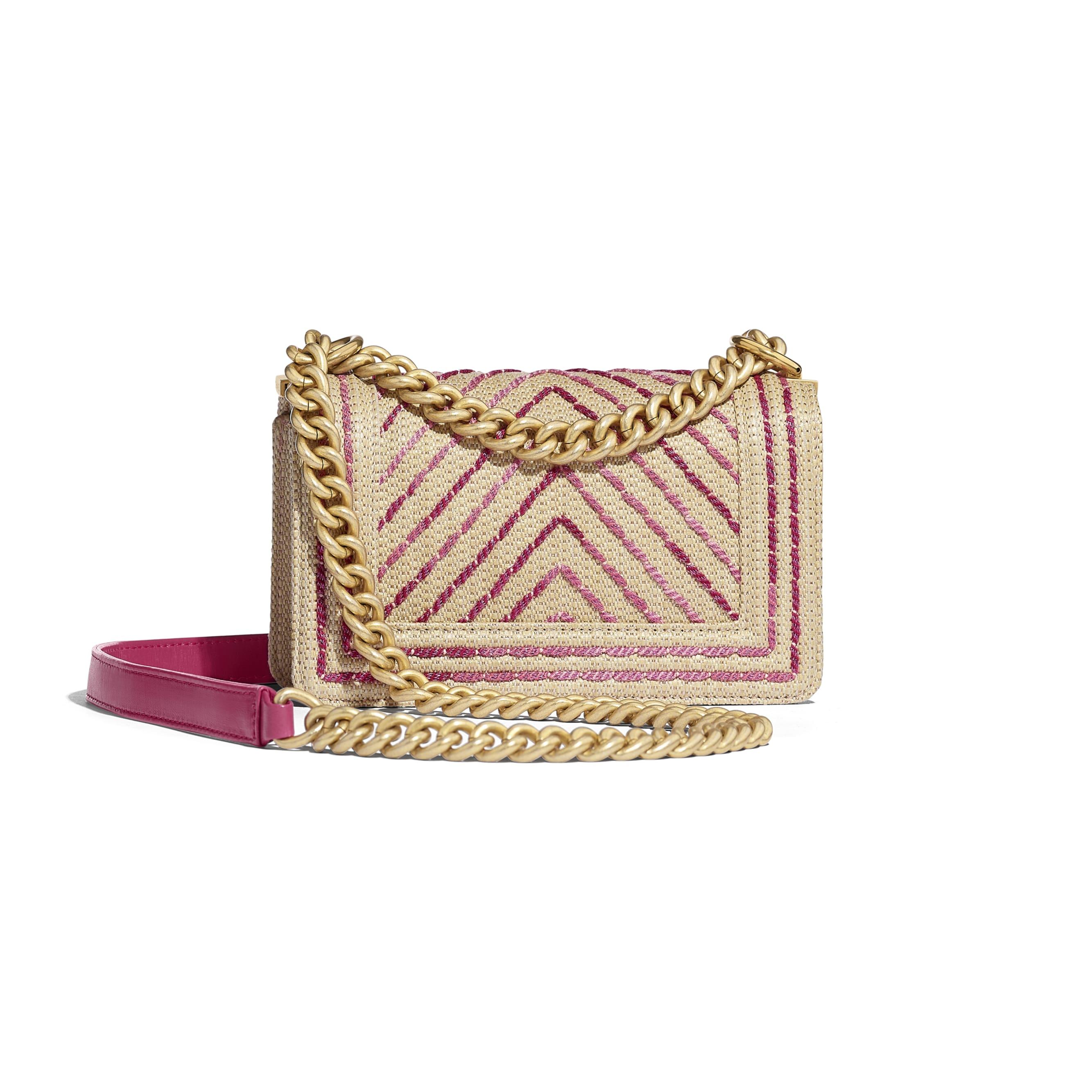 Small BOY CHANEL Handbag - Beige & Pink - Cotton, Mixed Fibers, Calfskin & Gold-Tone Metal - Alternative view - see standard sized version