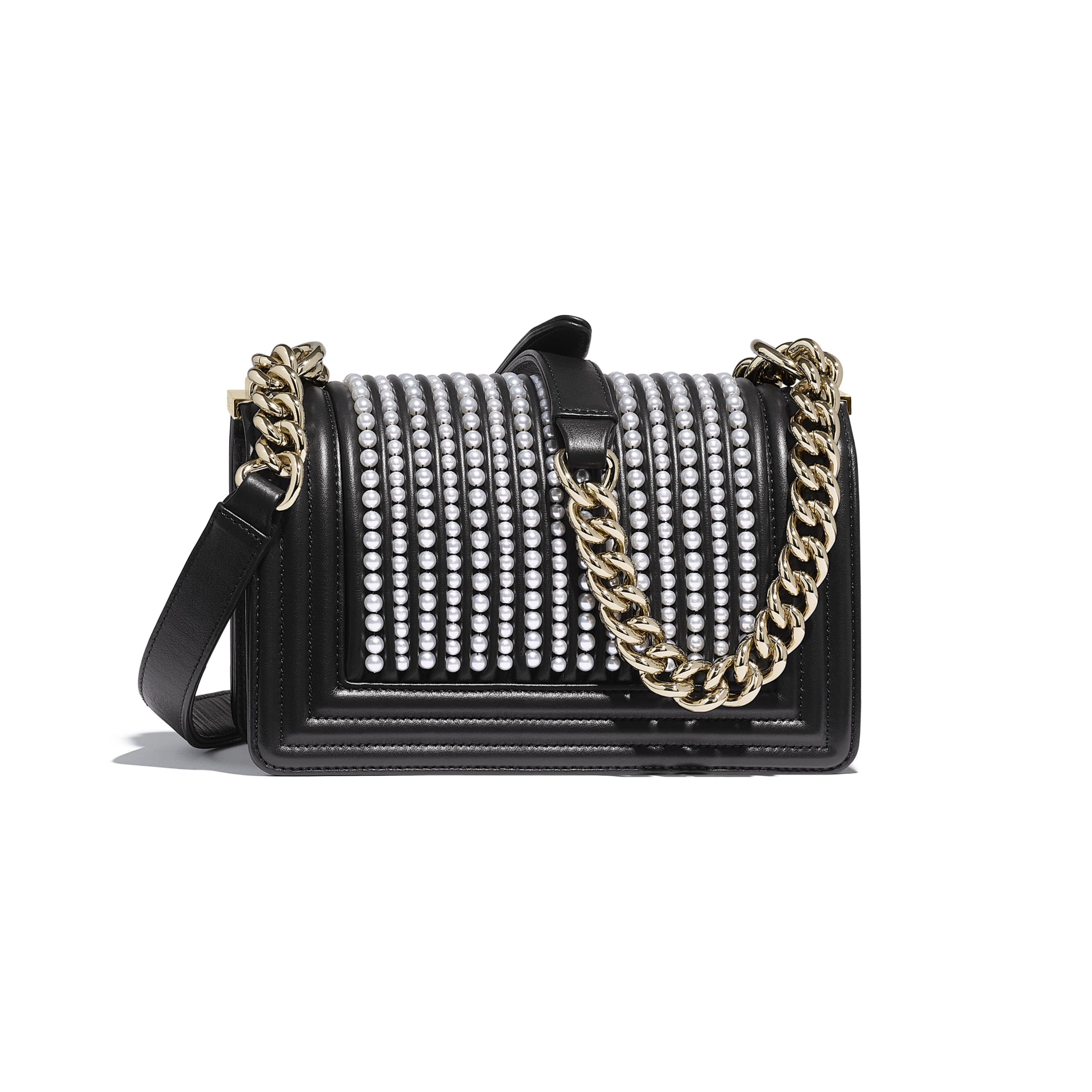 Small BOY CHANEL Handbag - Black - Calfskin, Imitation Pearls & Gold-Tone Metal - Alternative view - see standard sized version