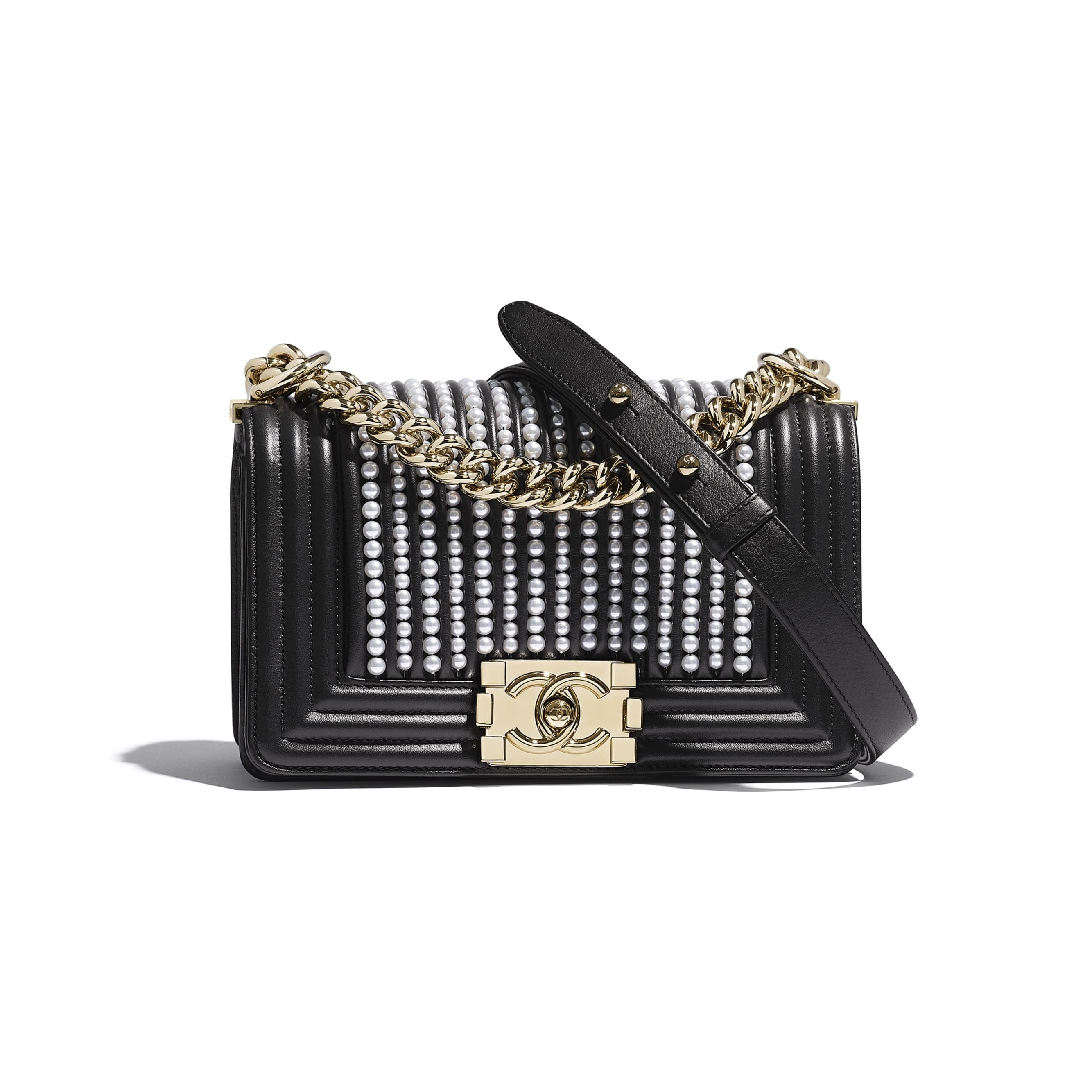 Small BOY CHANEL Handbag - Black - Calfskin, Imitation Pearls & Gold-Tone Metal - Default view - see standard sized version