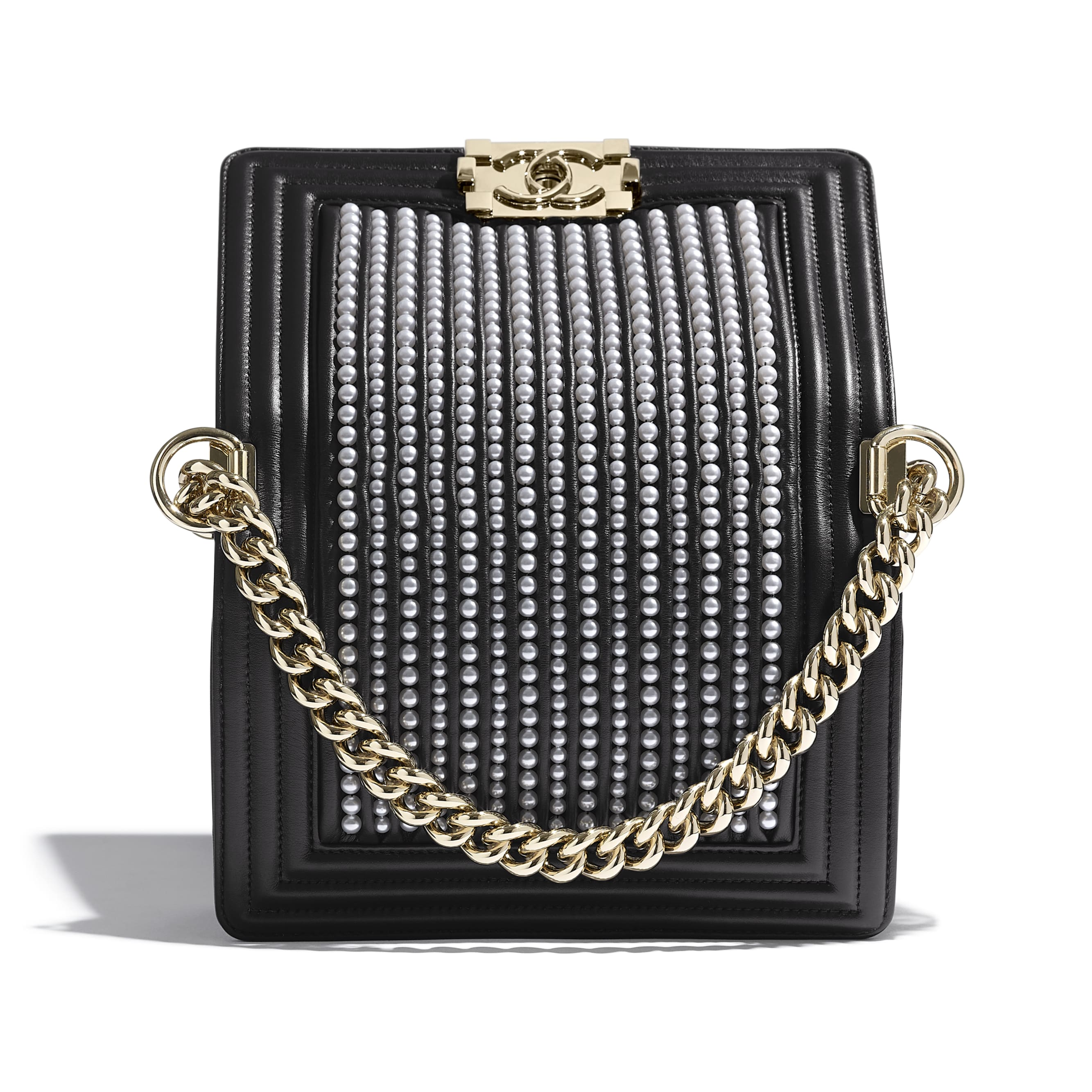 Small BOY CHANEL Handbag - Black - Calfskin, Imitation Pearls & Gold-Tone Metal - Extra view - see standard sized version