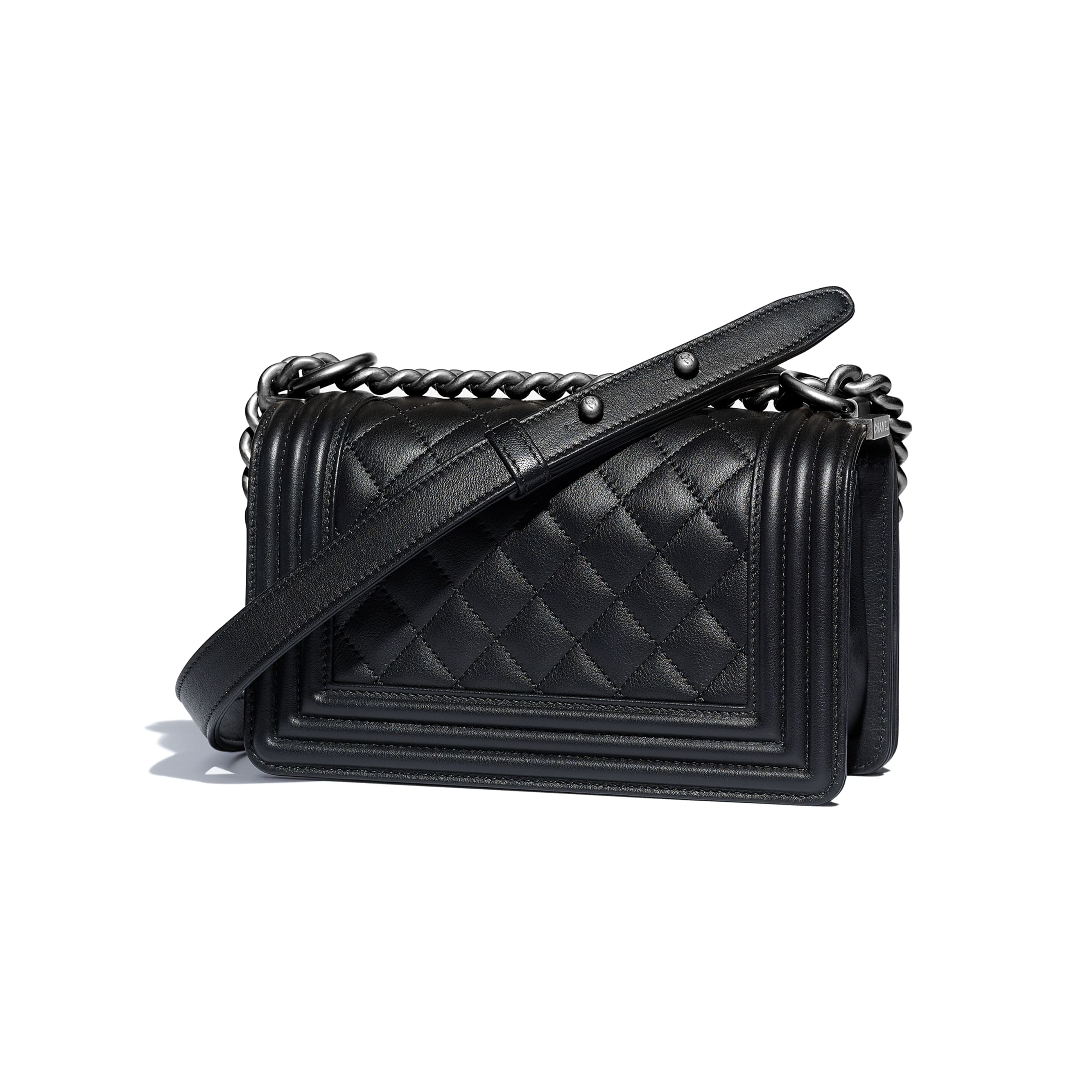 Small BOY CHANEL Handbag - Black - Calfskin & Ruthenium-Finish Metal - CHANEL - Alternative view - see standard sized version