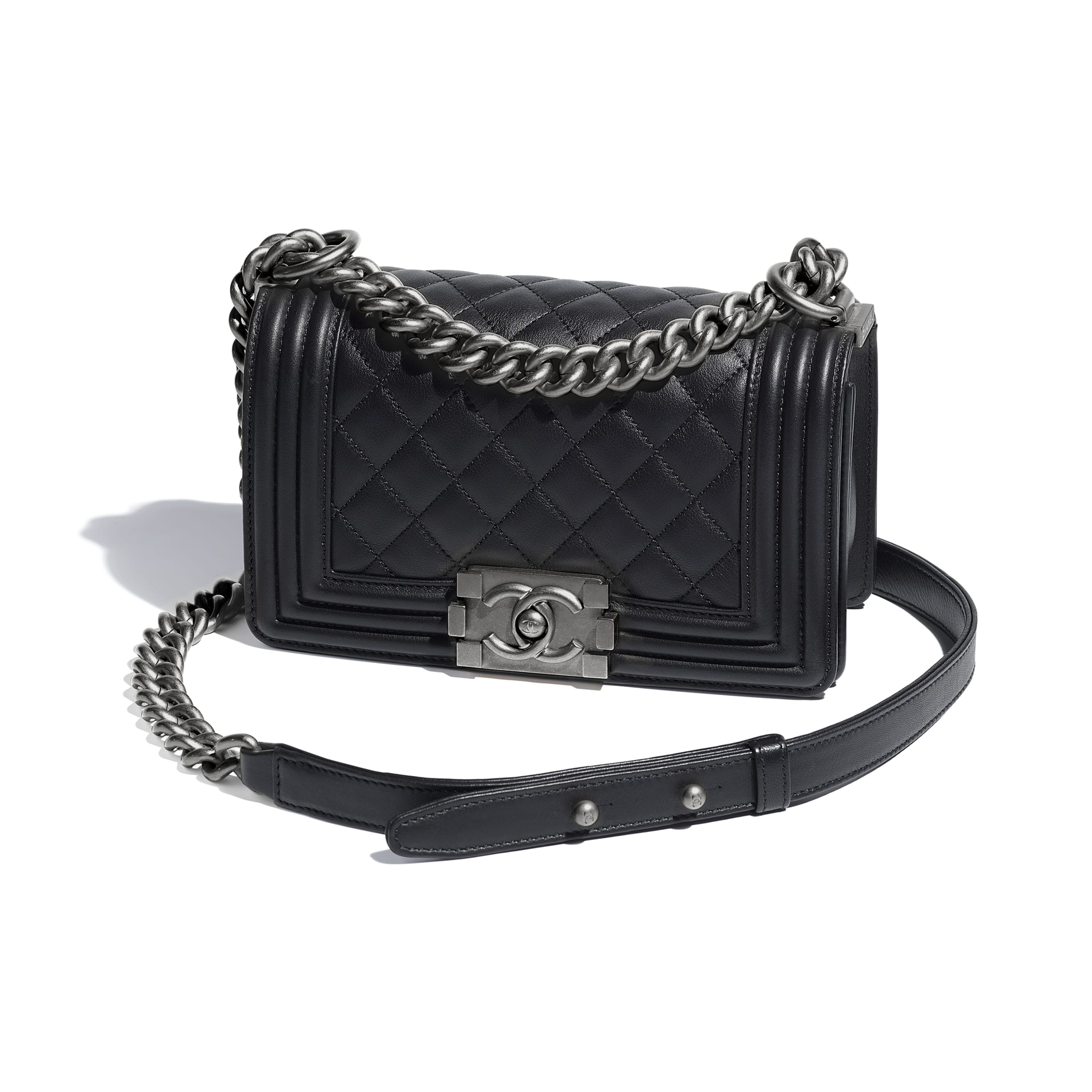 Small BOY CHANEL Handbag - Black - Calfskin & Ruthenium-Finish Metal - CHANEL - Other view - see standard sized version