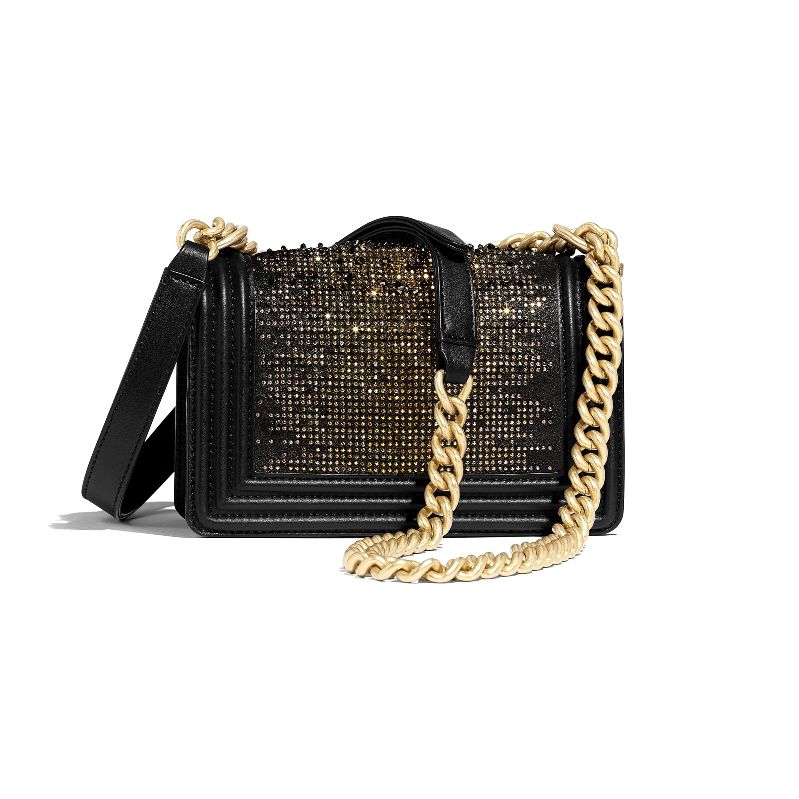 Small BOY CHANEL Handbag - Black - Calfskin, Strass & Gold-Tone Metal - Alternative view - see standard sized version