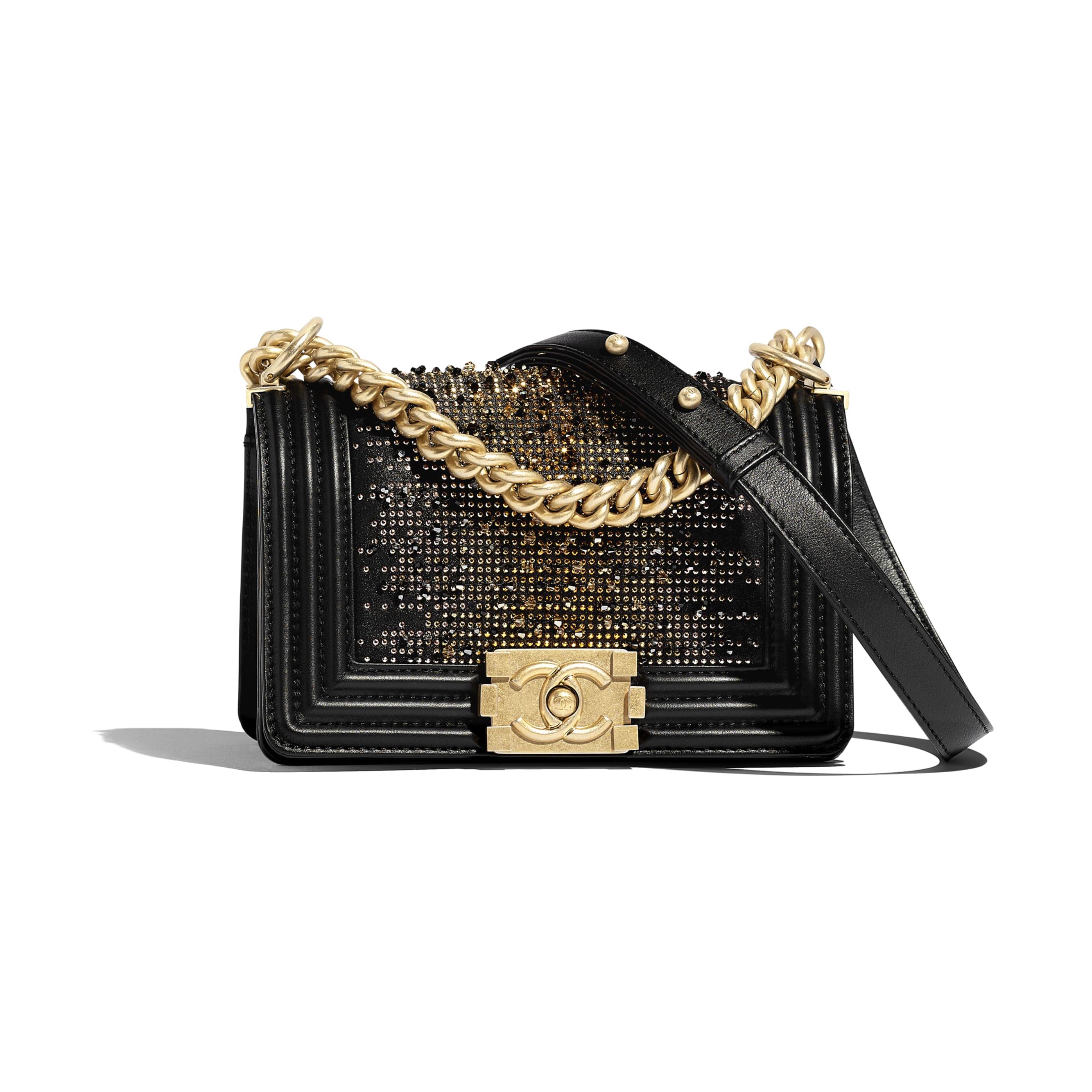 Small BOY CHANEL Handbag - Black - Calfskin, Strass & Gold-Tone Metal - Default view - see standard sized version