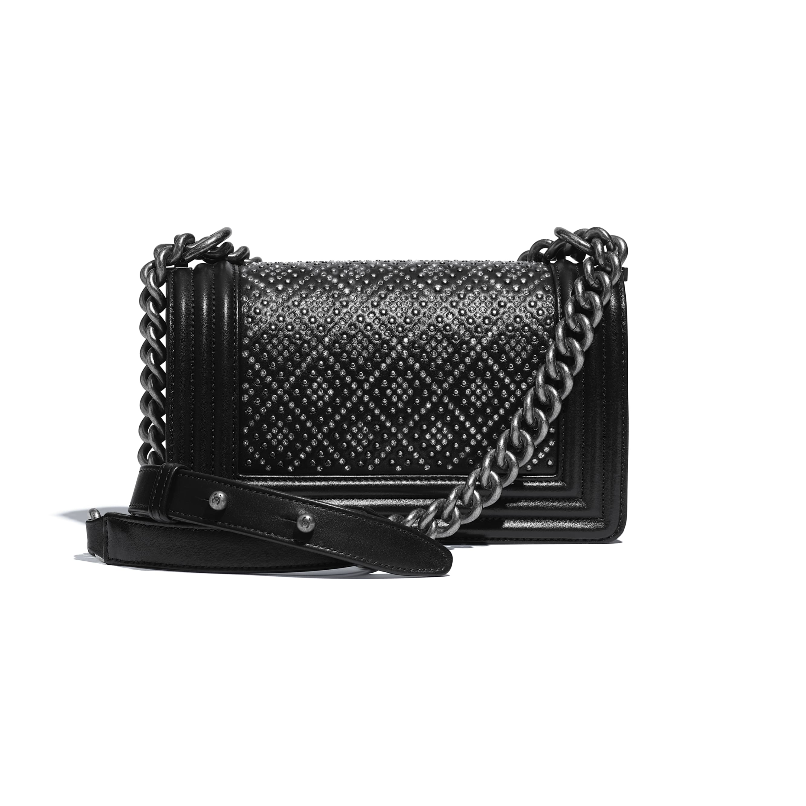 Small BOY CHANEL Handbag - Black - Calfskin, Studs, Diamanté & Ruthenium-Finish Metal - CHANEL - Alternative view - see standard sized version