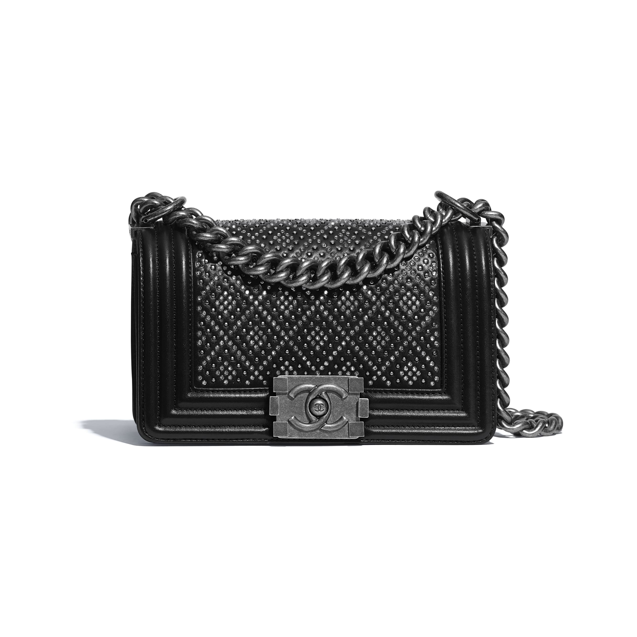 Small BOY CHANEL Handbag - Black - Calfskin, Studs, Diamanté & Ruthenium-Finish Metal - CHANEL - Default view - see standard sized version