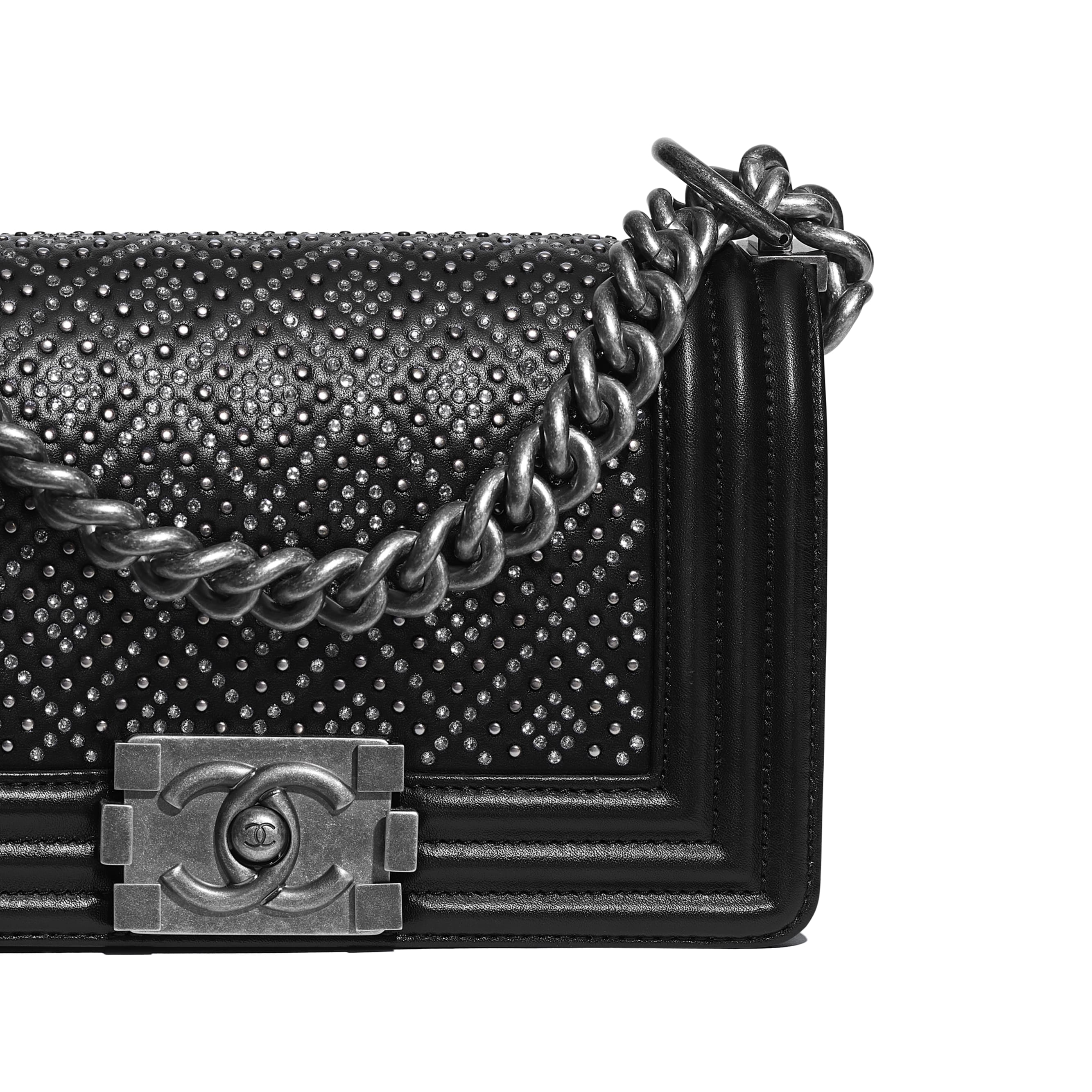 Small BOY CHANEL Handbag - Black - Calfskin, Studs, Diamanté & Ruthenium-Finish Metal - Extra view - see standard sized version