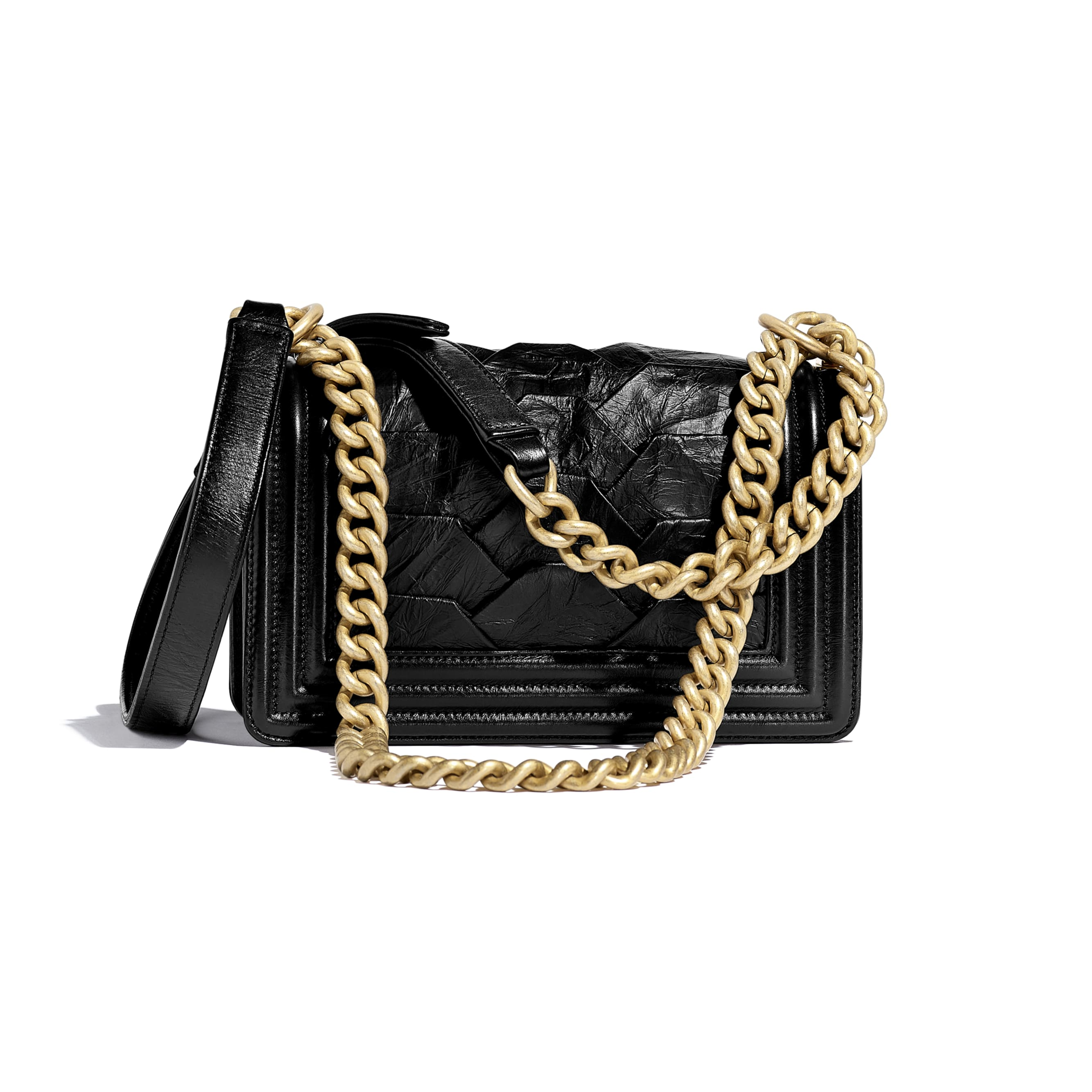 Small BOY CHANEL Handbag - Black - Crumpled Calfskin & Gold-Tone Metal - Alternative view - see standard sized version