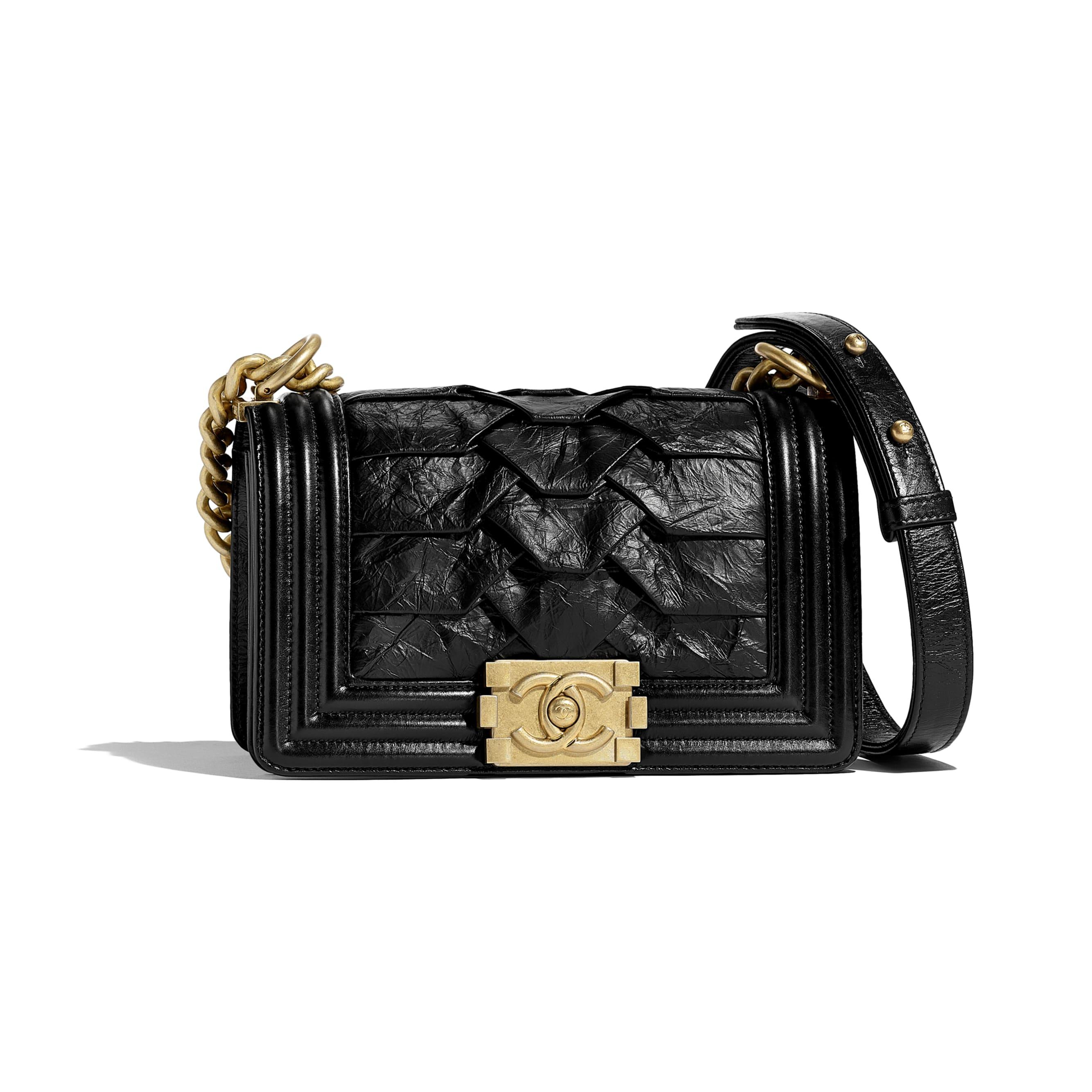 Small BOY CHANEL Handbag - Black - Crumpled Calfskin & Gold-Tone Metal - Default view - see standard sized version