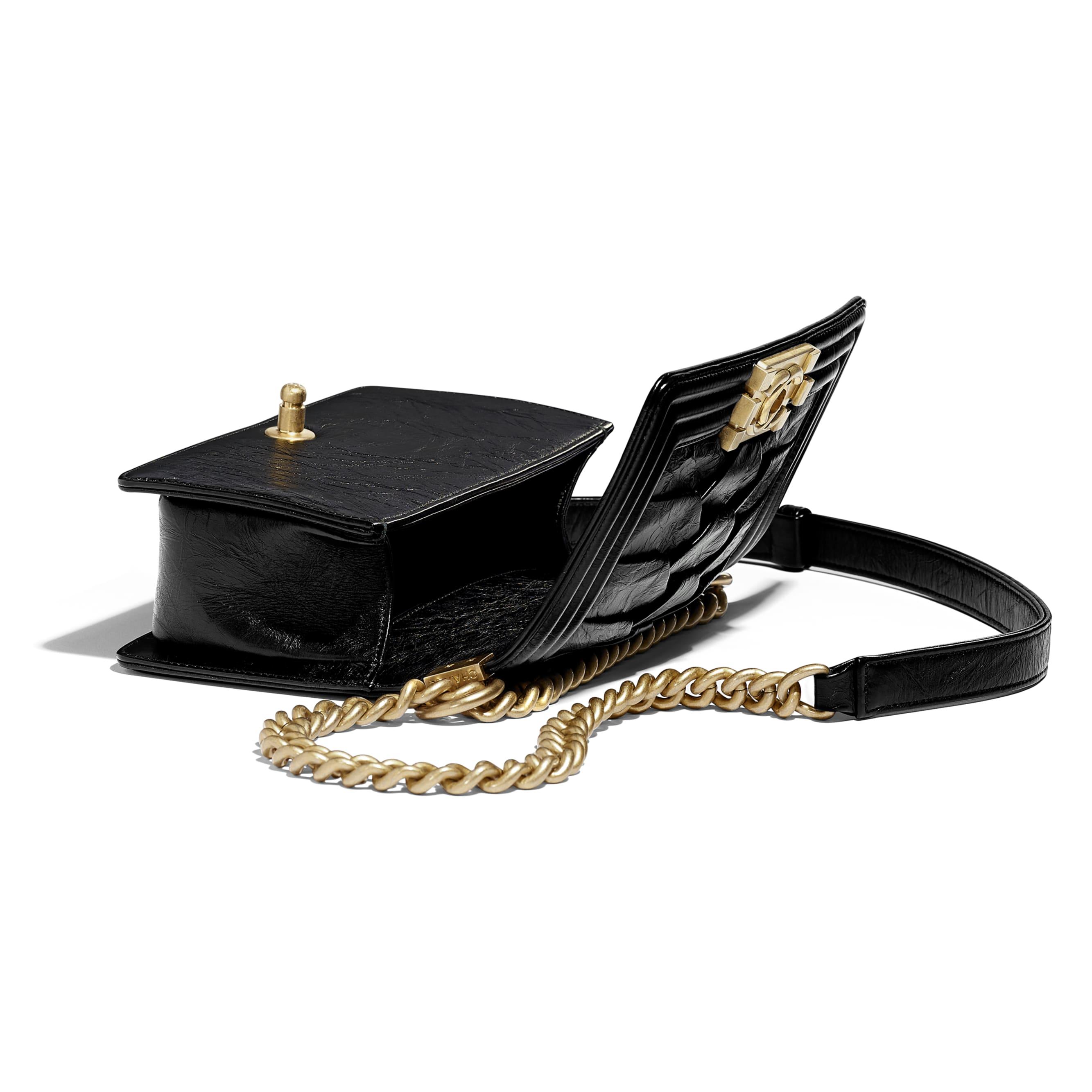 Small BOY CHANEL Handbag - Black - Crumpled Calfskin & Gold-Tone Metal - Other view - see standard sized version