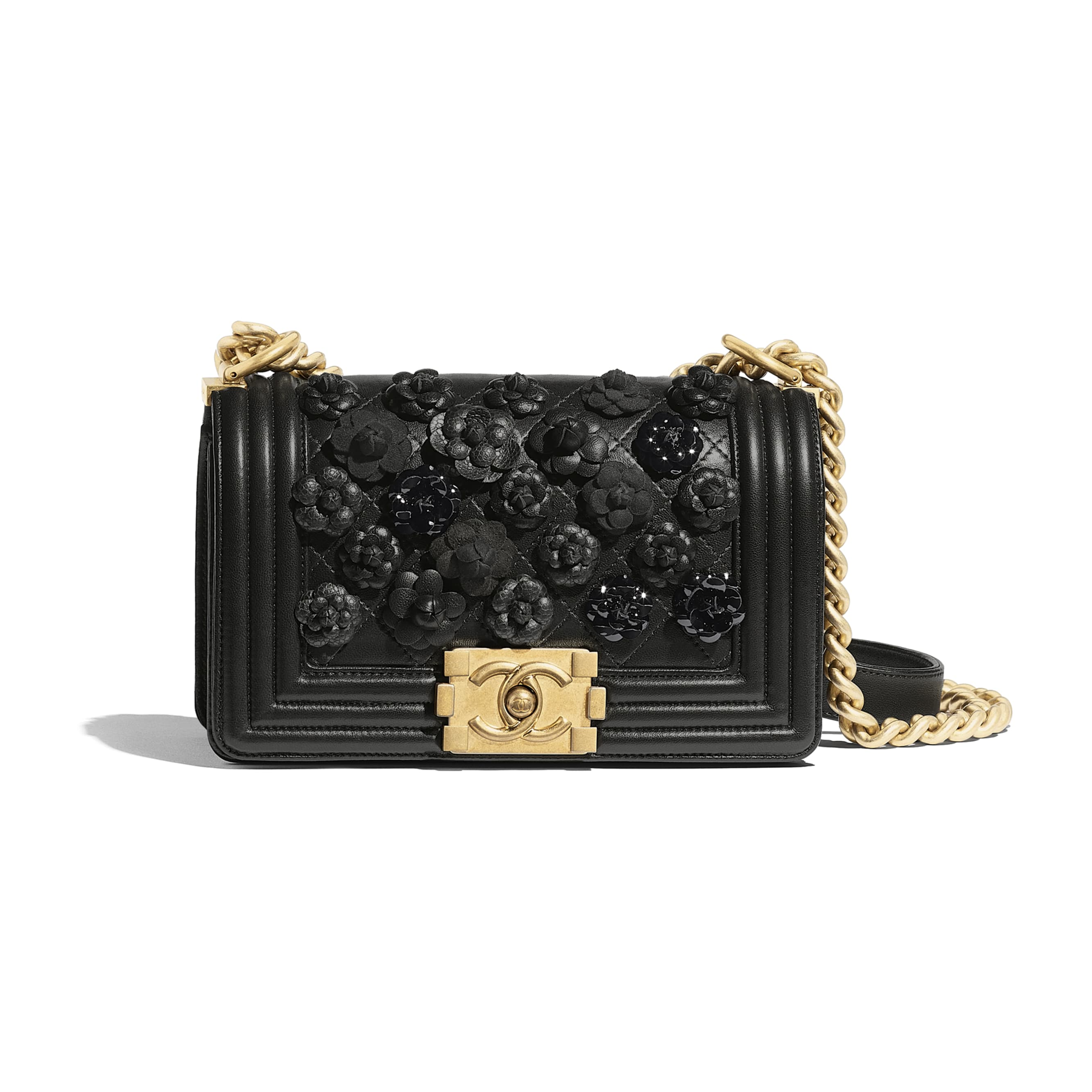 51d39759a361 Small BOY CHANEL Handbag - Black - Embroidered Lambskin   Gold-Tone Metal -  Default .