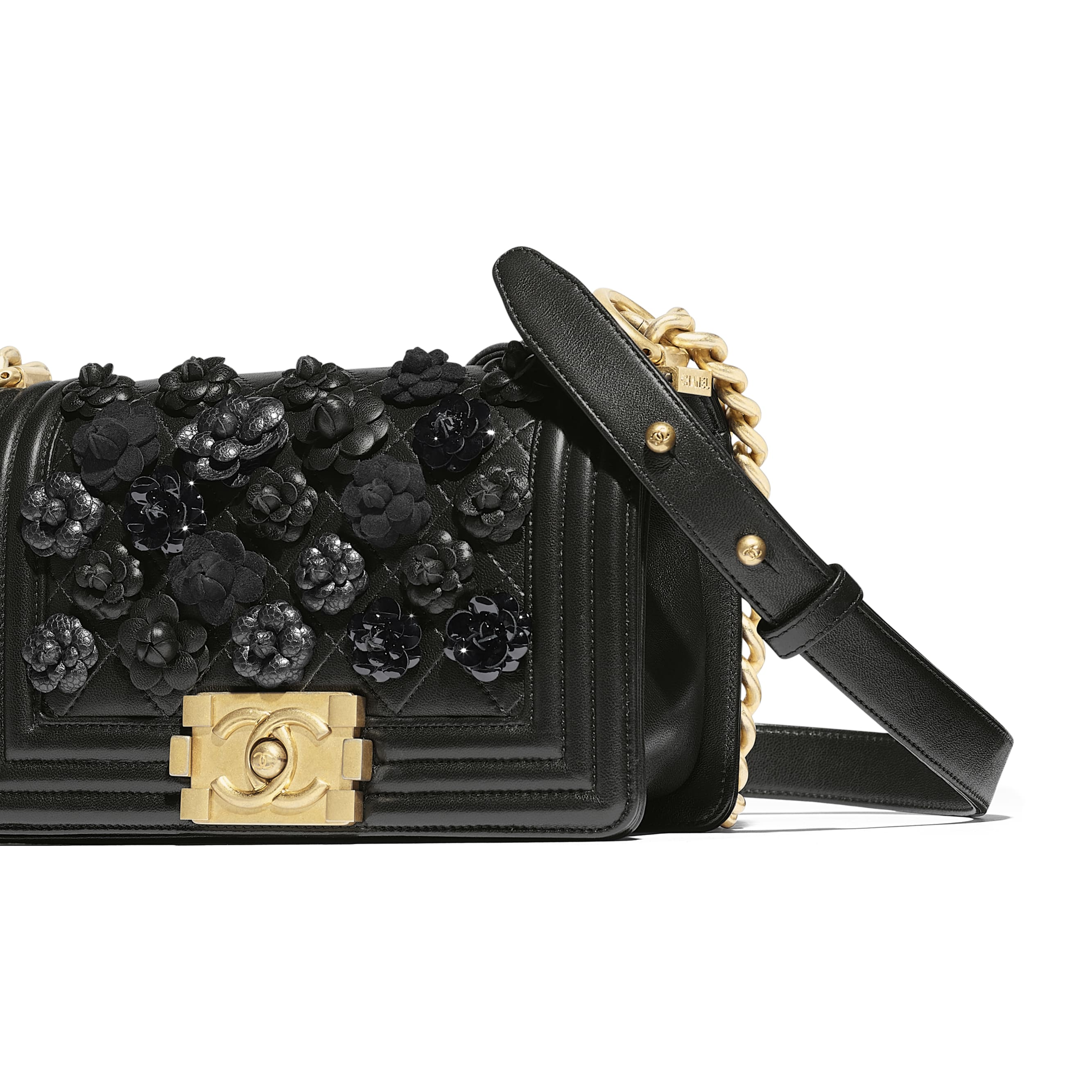 Small BOY CHANEL Handbag - Black - Embroidered Lambskin & Gold-Tone Metal - Other view - see standard sized version
