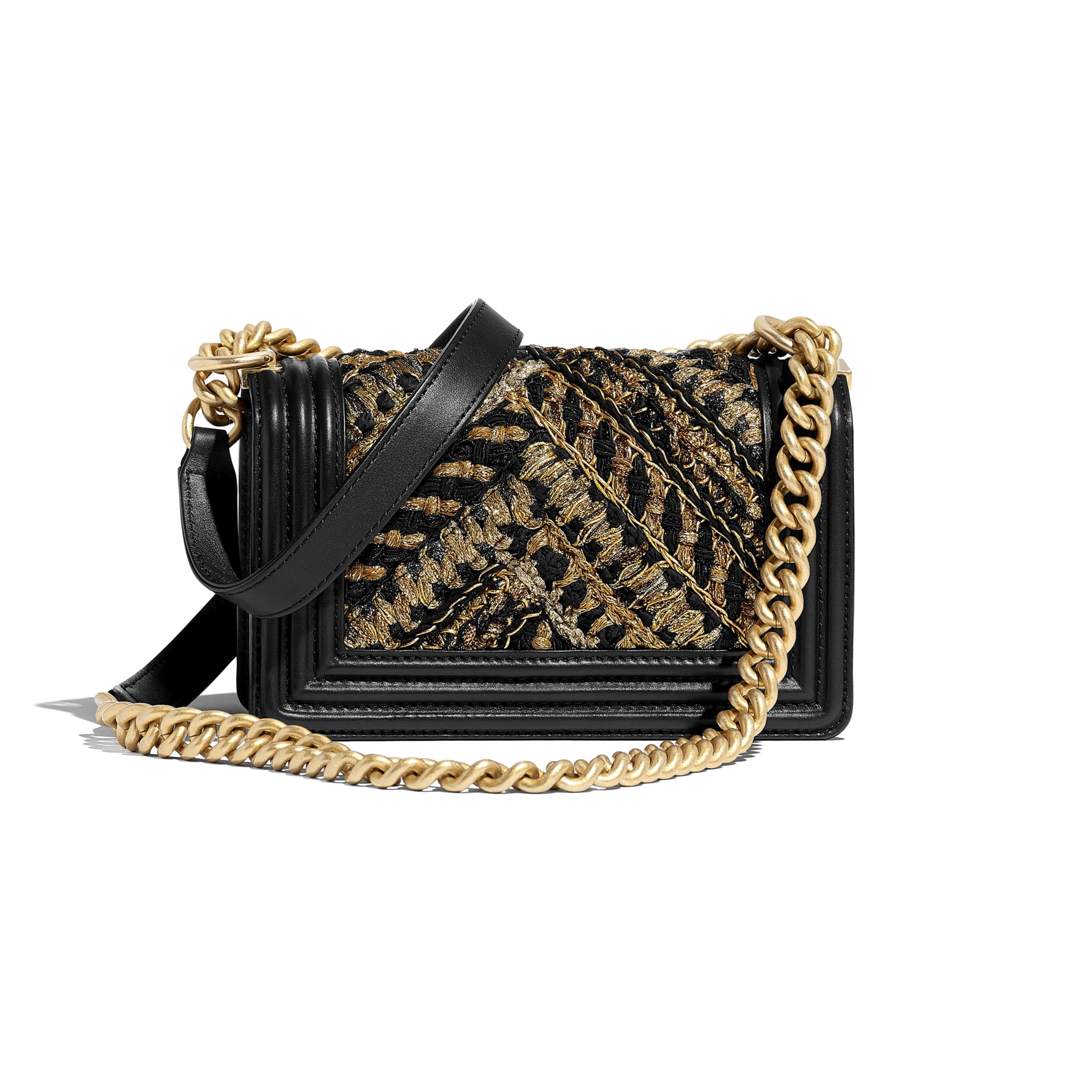 Small BOY CHANEL Handbag - Black & Gold - Calfskin, Cotton & Gold-Tone Metal - CHANEL - Alternative view - see standard sized version