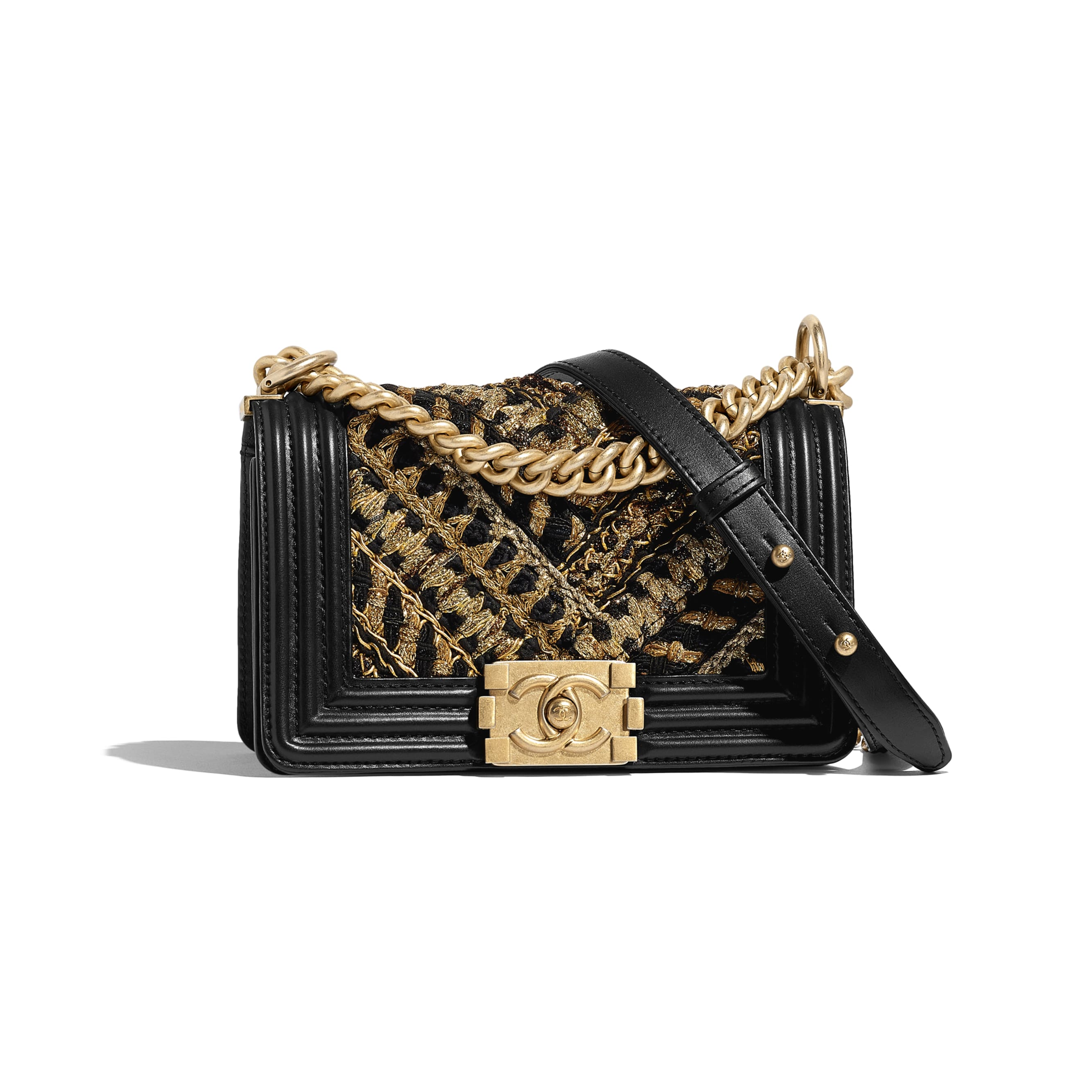 Small BOY CHANEL Handbag - Black & Gold - Calfskin, Cotton & Gold-Tone Metal - CHANEL - Default view - see standard sized version