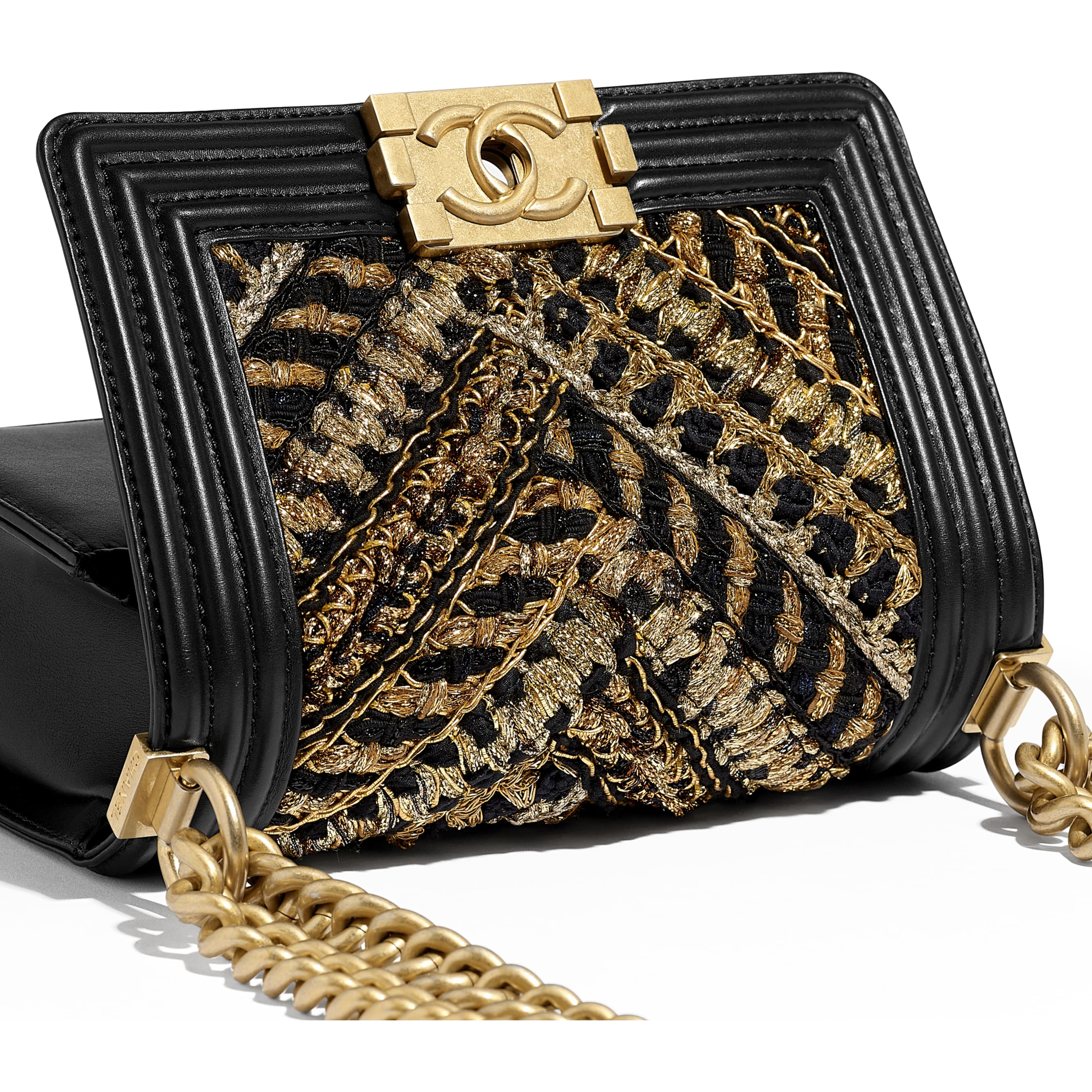 Small BOY CHANEL Handbag - Black & Gold - Calfskin, Cotton & Gold-Tone Metal - CHANEL - Extra view - see standard sized version
